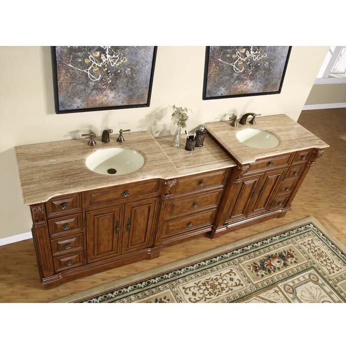 "Silkroad Exclusive Charlotte 95"" Double Bathroom Vanity"