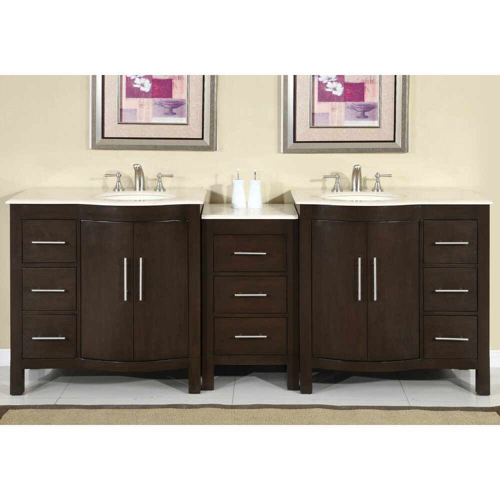 Silkroad exclusive kimberly 89 double bathroom vanity set reviews wayfair supply Bathroom sink and vanity sets