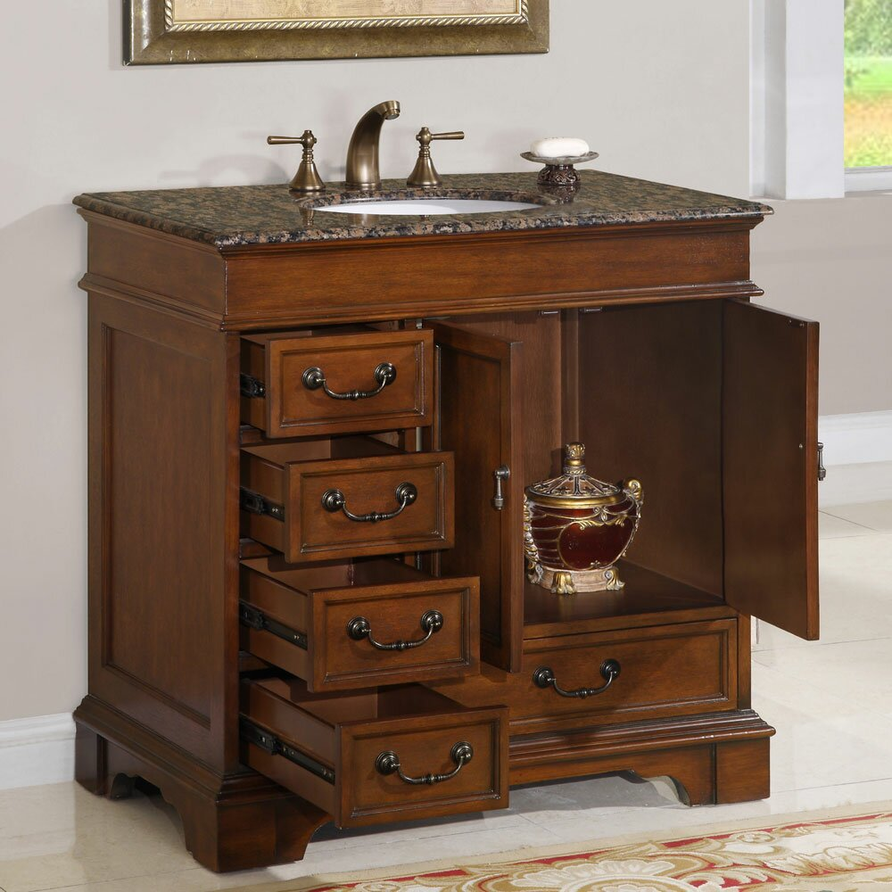 Silkroad exclusive ashley 36 single bathroom vanity set for Bath and vanity set