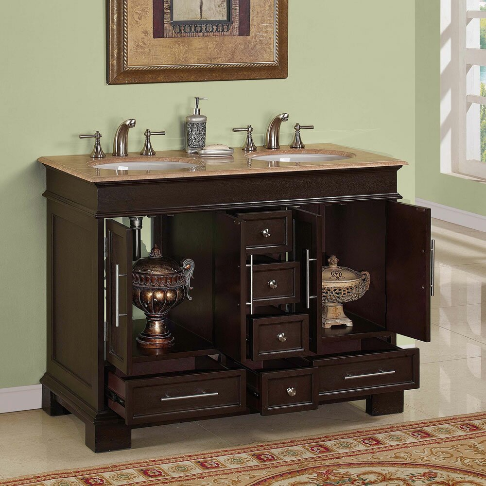 "Silkroad Exclusive Sally 48"" Double Bathroom Vanity Set ..."
