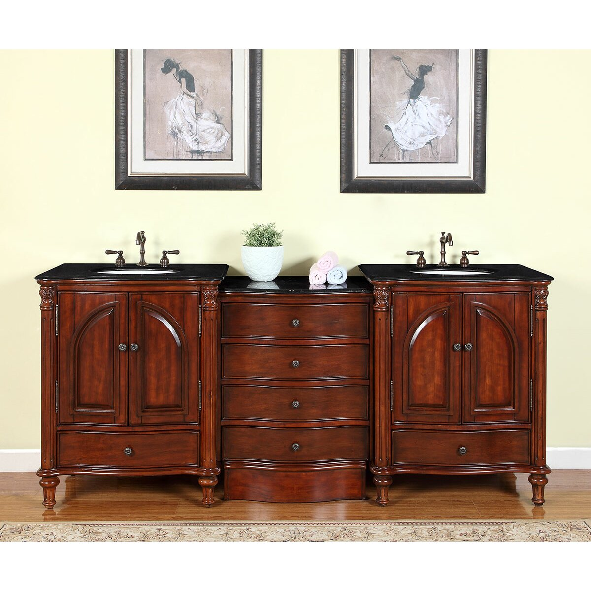 "Wayfair Bathroom Vanity >> Silkroad Exclusive Leila 83"" Double Bathroom Vanity Set & Reviews 