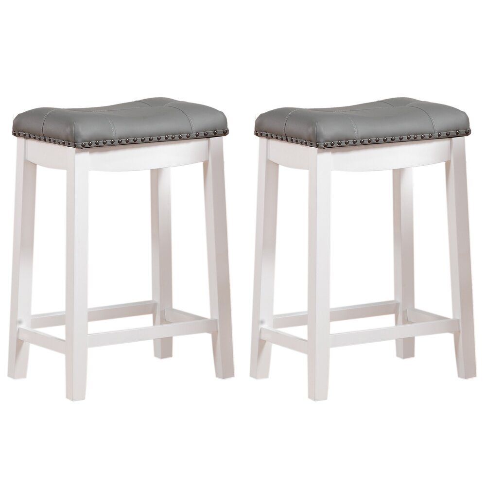 Angel Line Cambridge 24quot Bar Stool amp Reviews Wayfair : Cambridge 24 Padded Saddle Stool White w Gray Cushion Set of 2 43418 21 from www.wayfair.com size 1000 x 1000 jpeg 66kB
