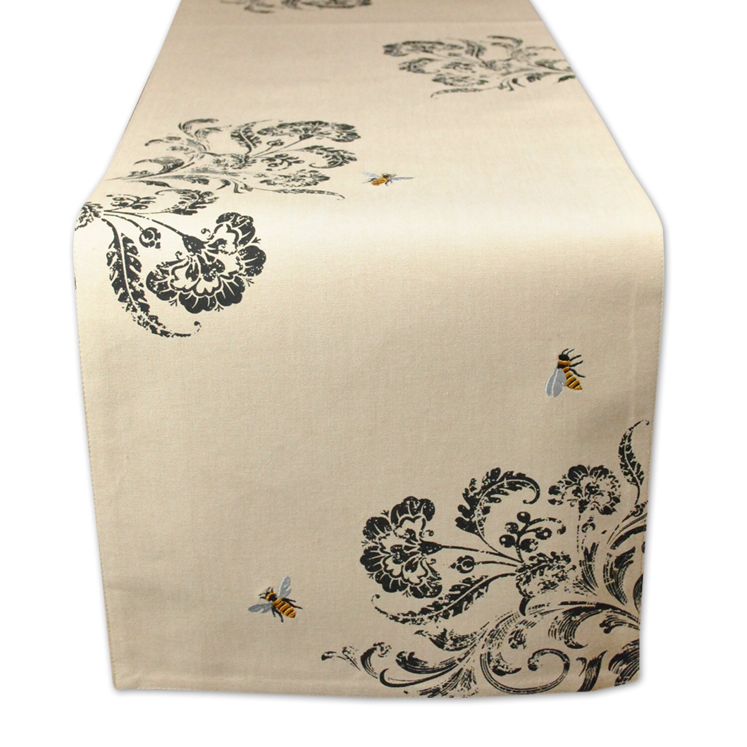 Design imports honey bee busy embroidered table runner