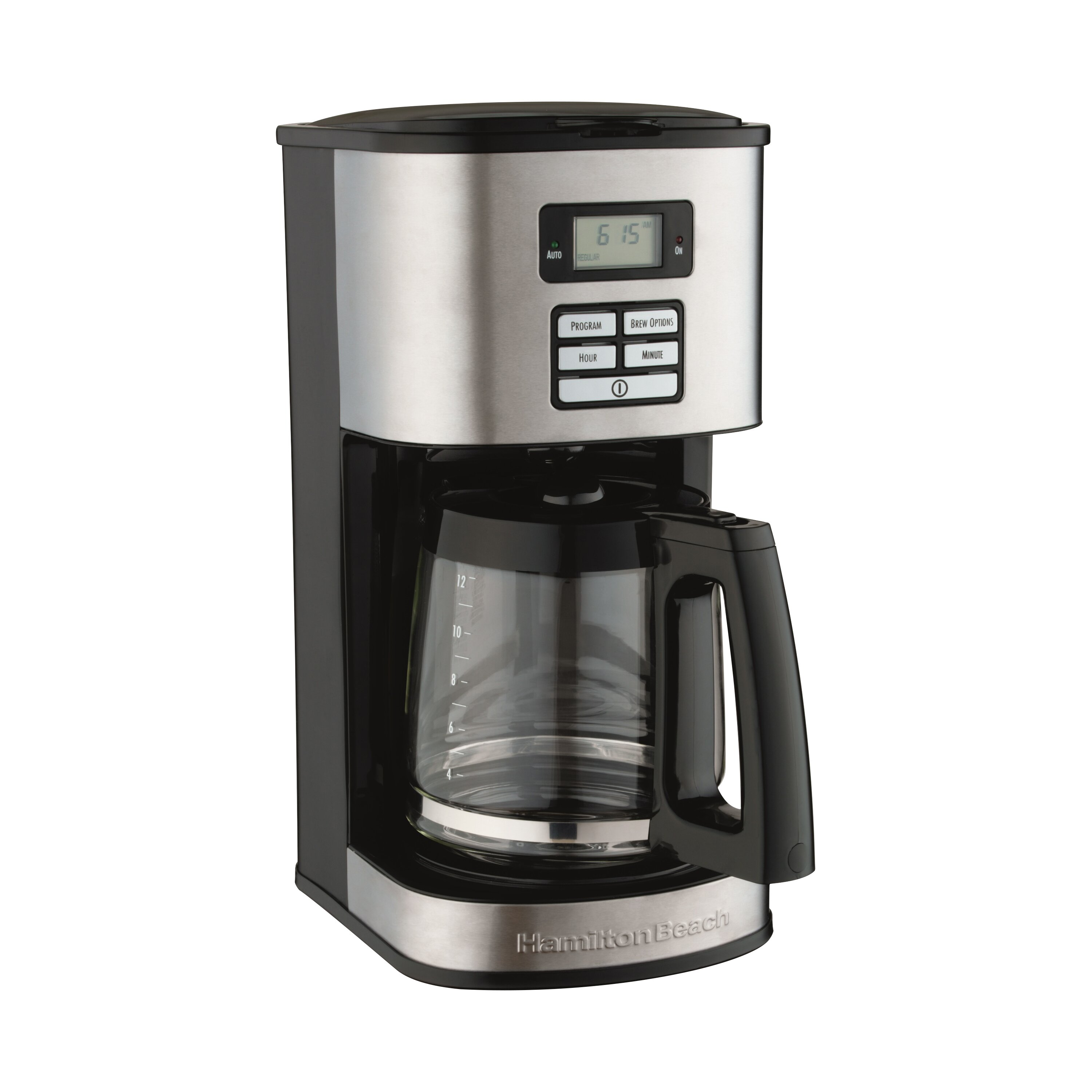 Hamilton beach 12 cup stainless steel coffee maker for Apartment size coffee maker