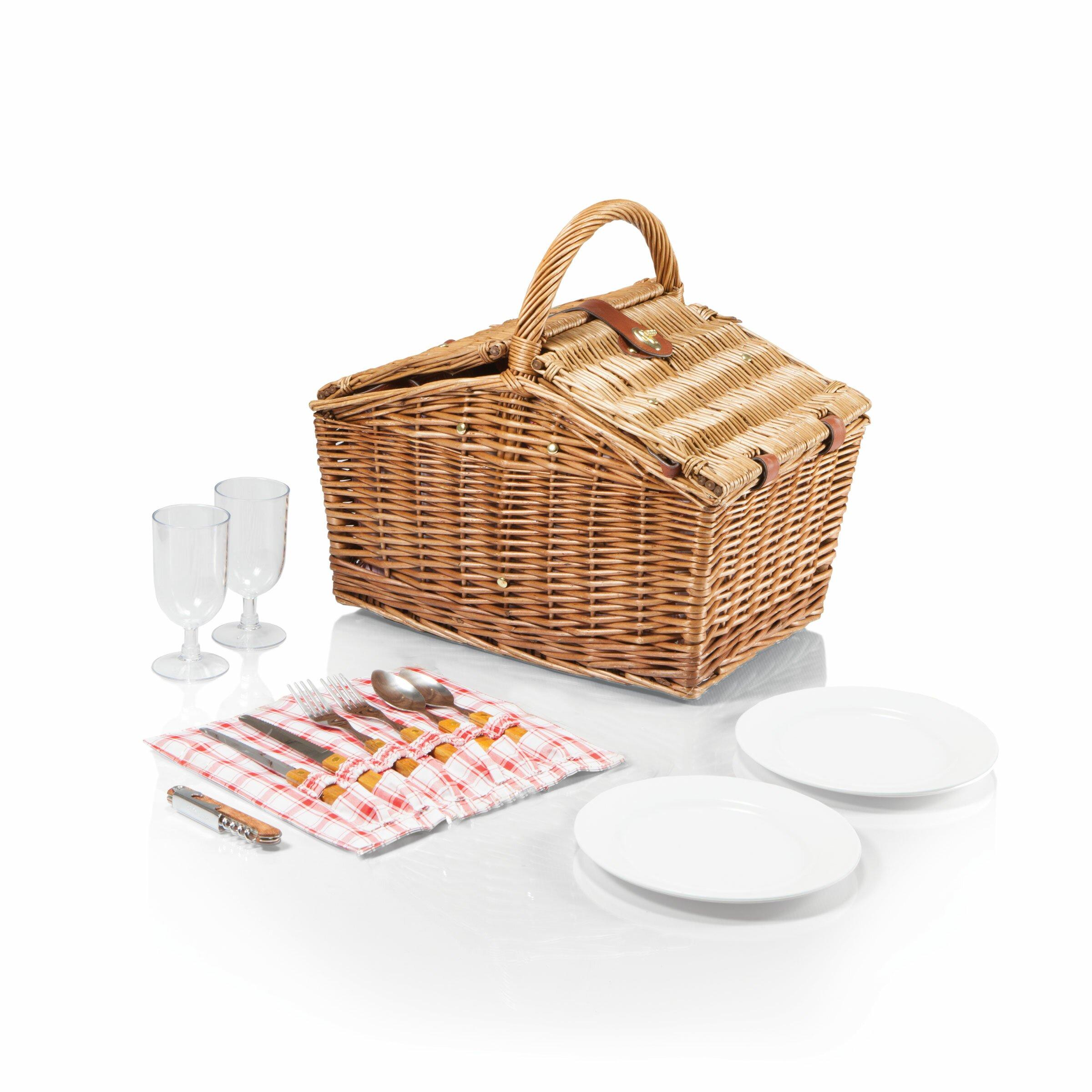 Picnic Basket Dish Set : Picnic time piccadilly basket set reviews wayfair