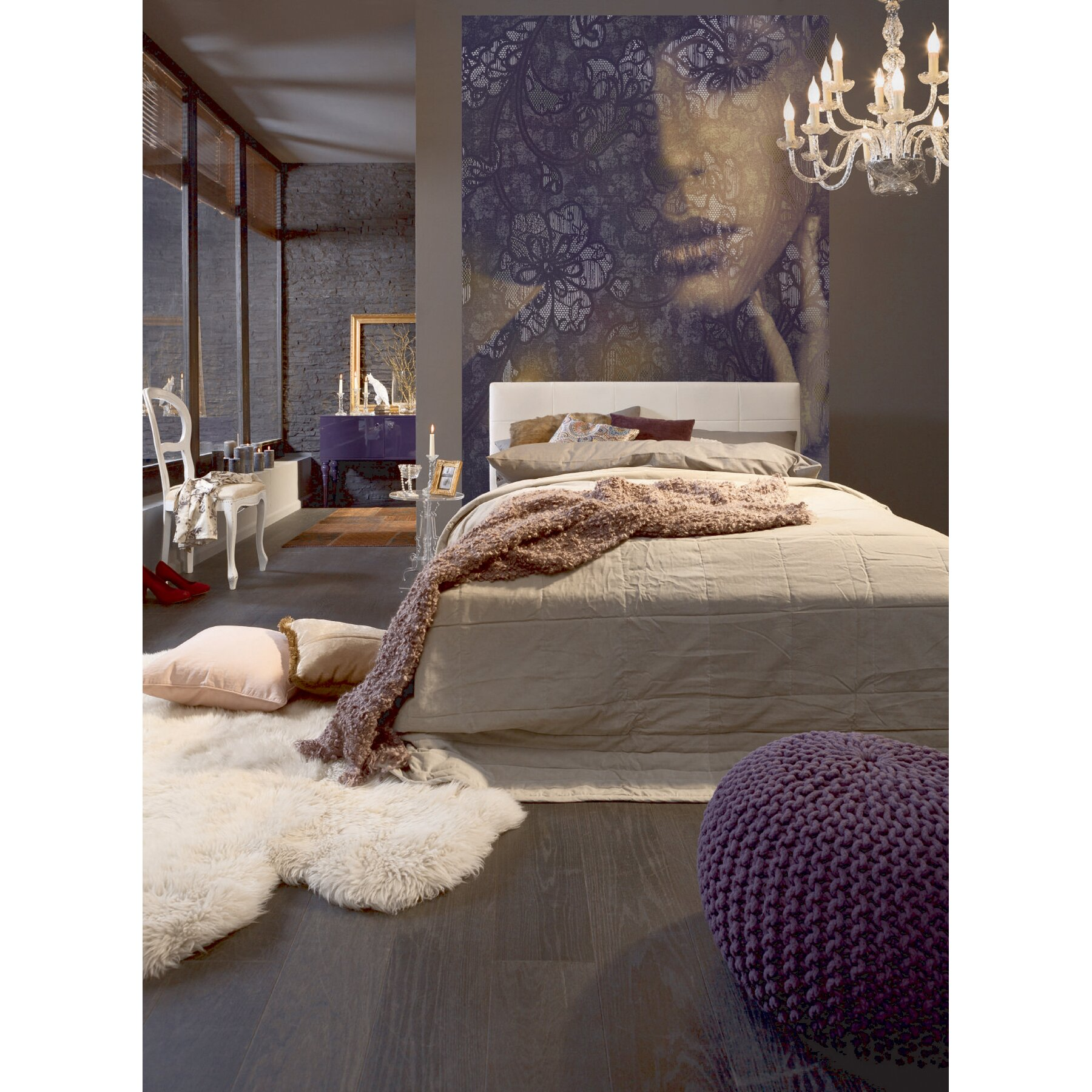 wallpops komar lace wall mural reviews wayfair. Black Bedroom Furniture Sets. Home Design Ideas