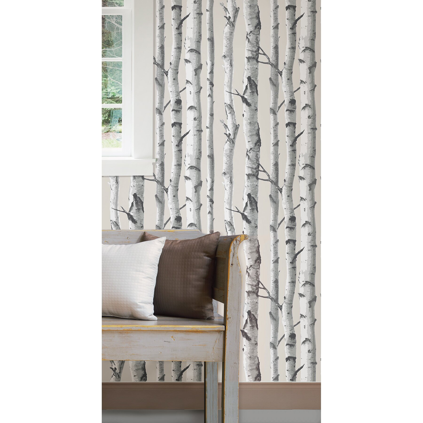 Wallpops birch tree peel and stick wallpaper reviews - Birch tree wallpaper peel and stick ...
