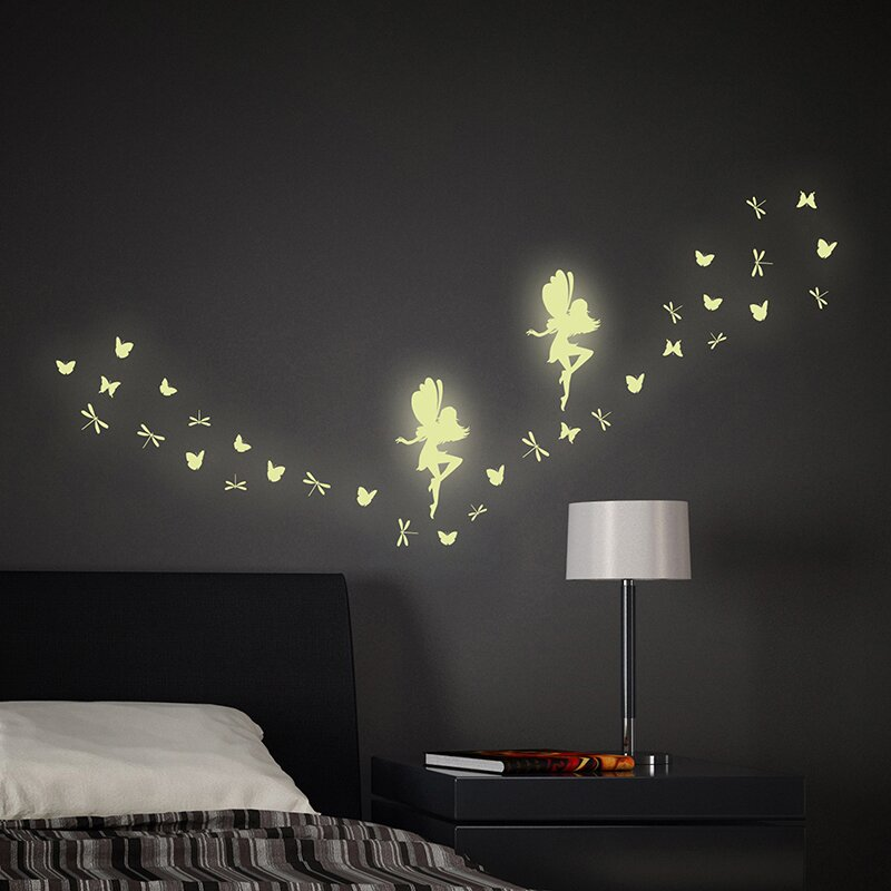 Wallpops Fairy Glow In The Dark 34 Piece Wall Decal Set