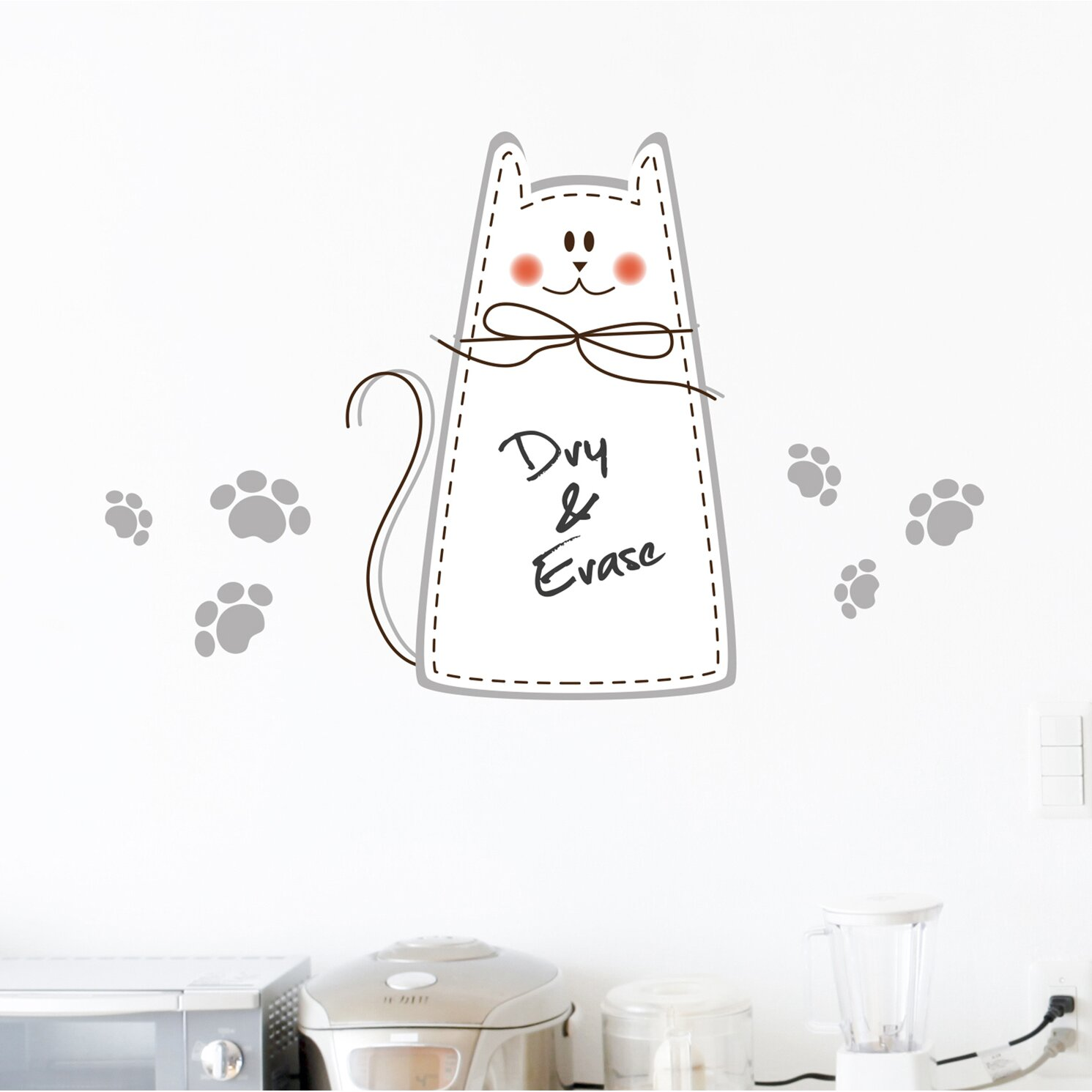 wallpops home decor line cat whiteboard wall decal