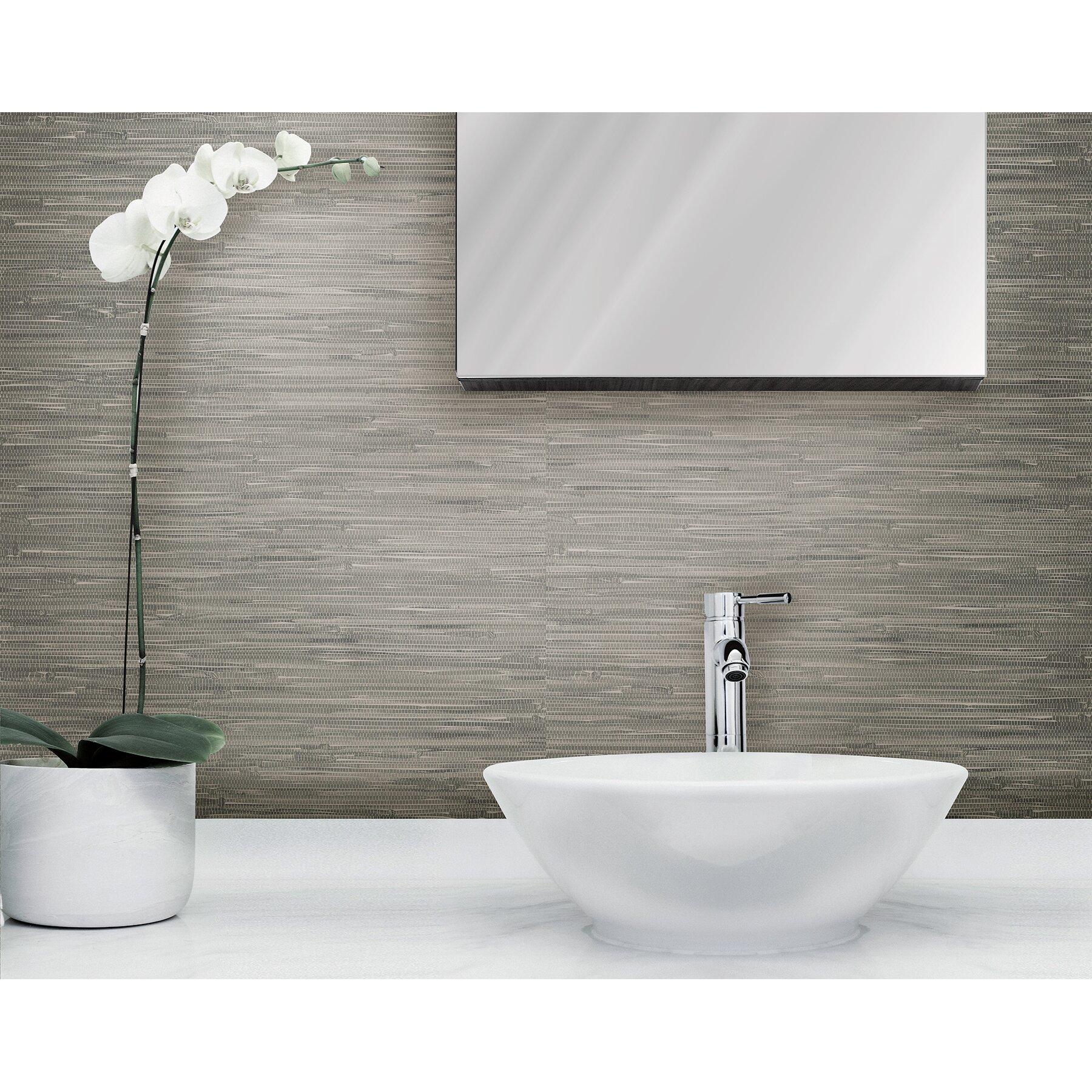 Wallpops 18 39 x 20 5 tibetan grasscloth peel and stick for Wayfair bathroom wallpaper