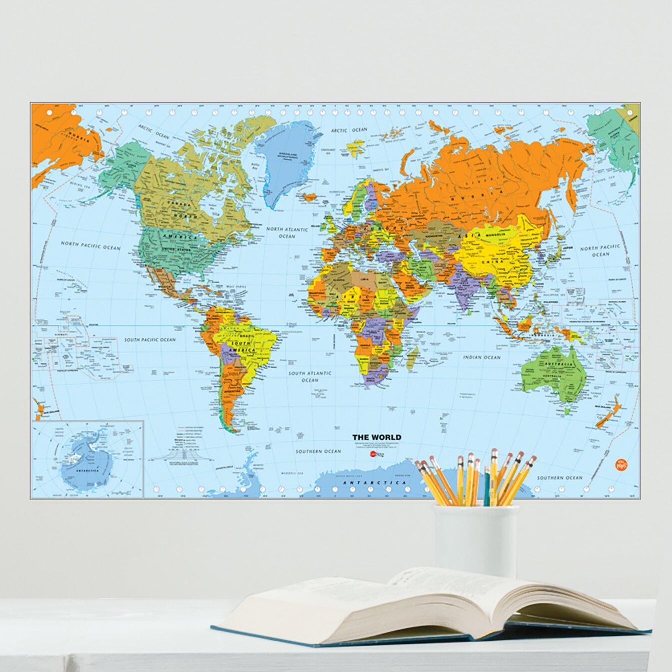 WallPops World Dry Erase Map Wall Decal Wayfair