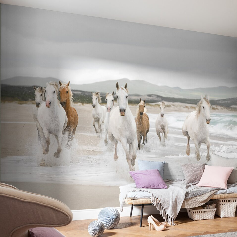 Wallpops komar white horses wall mural wayfair for Equestrian wall mural