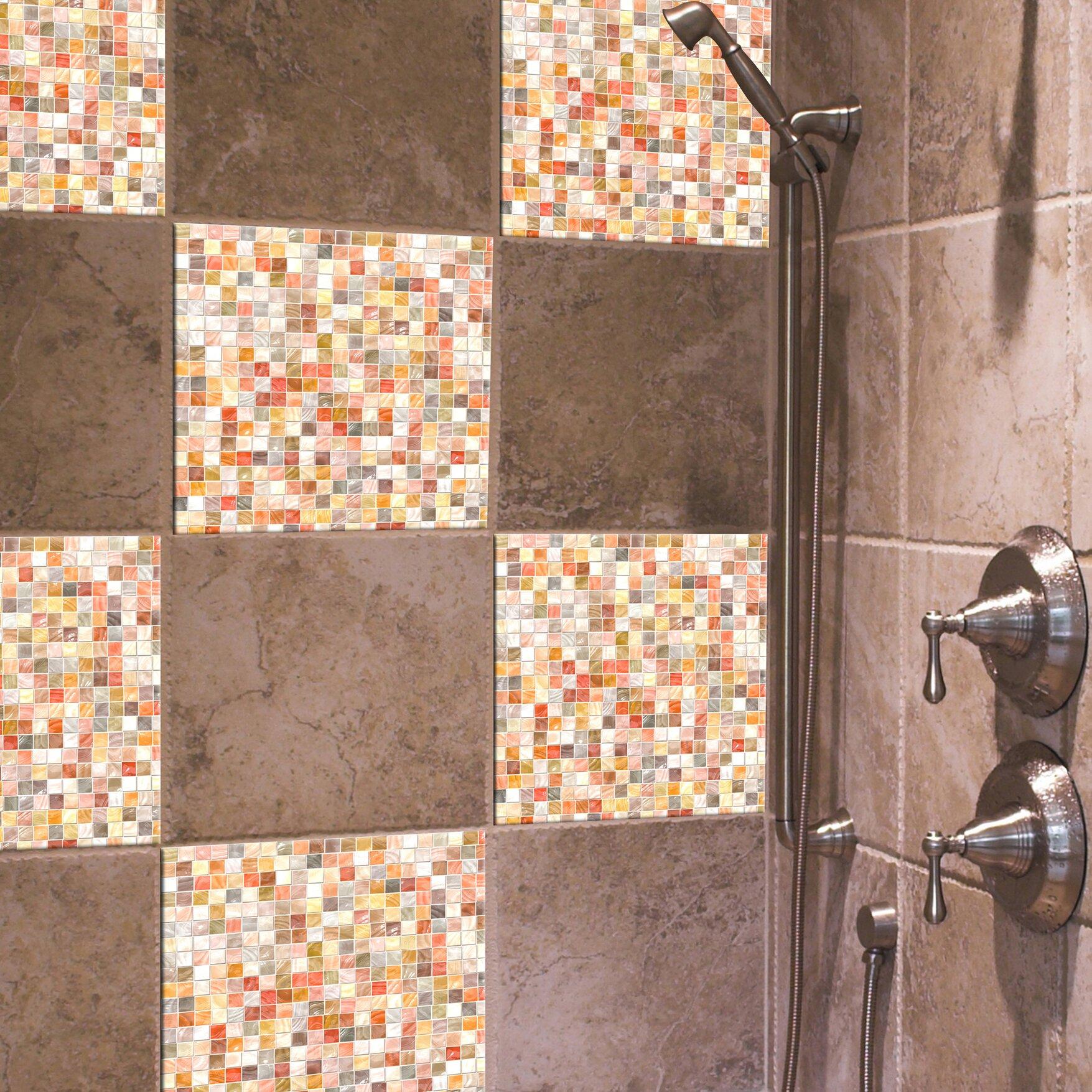 wallpops home decor line 7 9 x 7 9 ceramic peel stick mosaic tile in pearl reviews wayfair. Black Bedroom Furniture Sets. Home Design Ideas