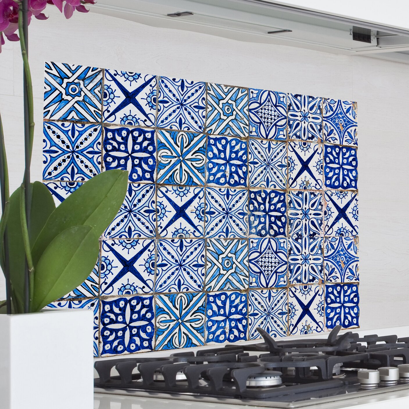 Kitchen Wall Decor Blue : Wallpops home decor line blue azulejos kitchen wall mural