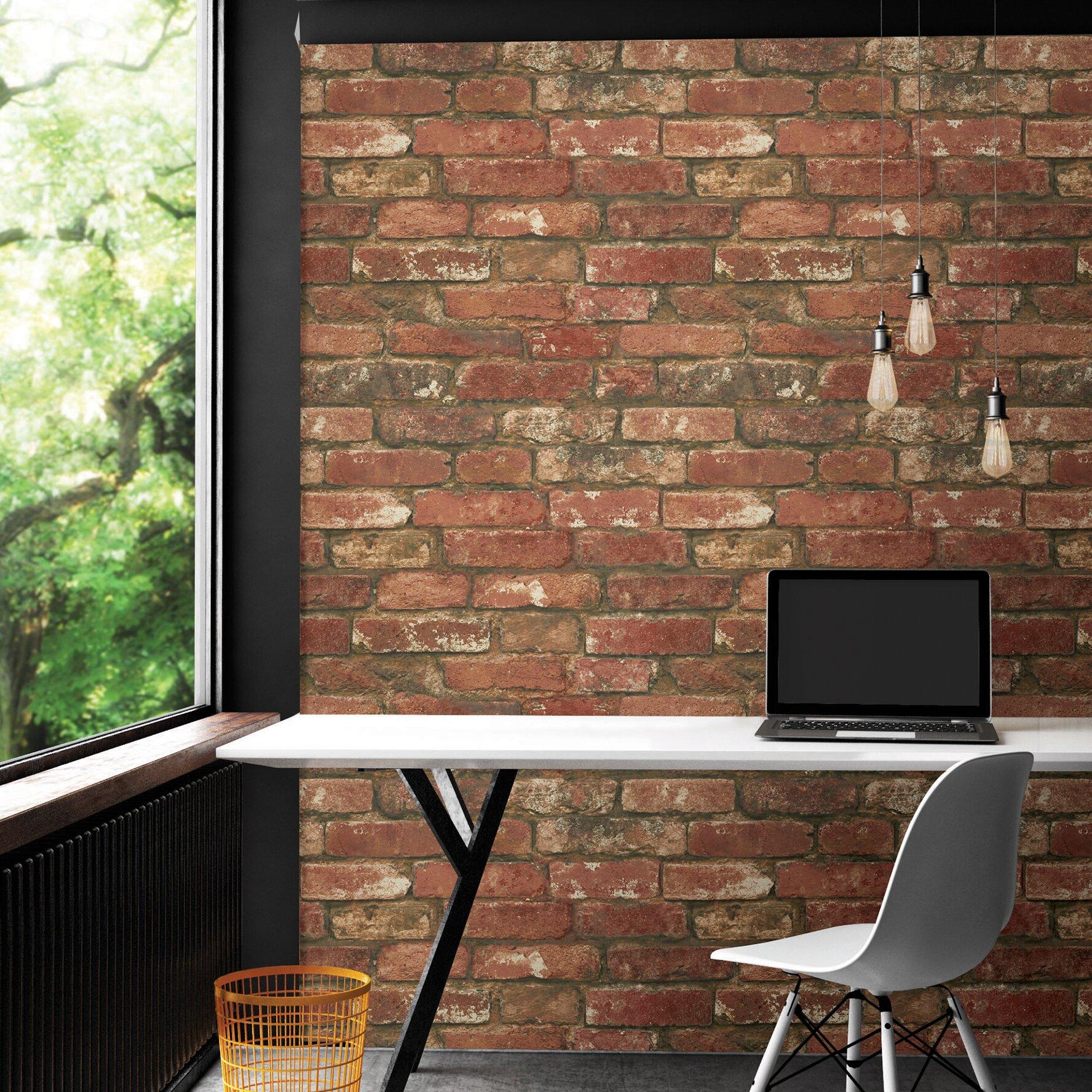 "WallPops! NuWallpaper Peel and Stick 18' x 20.5"" Brick ..."