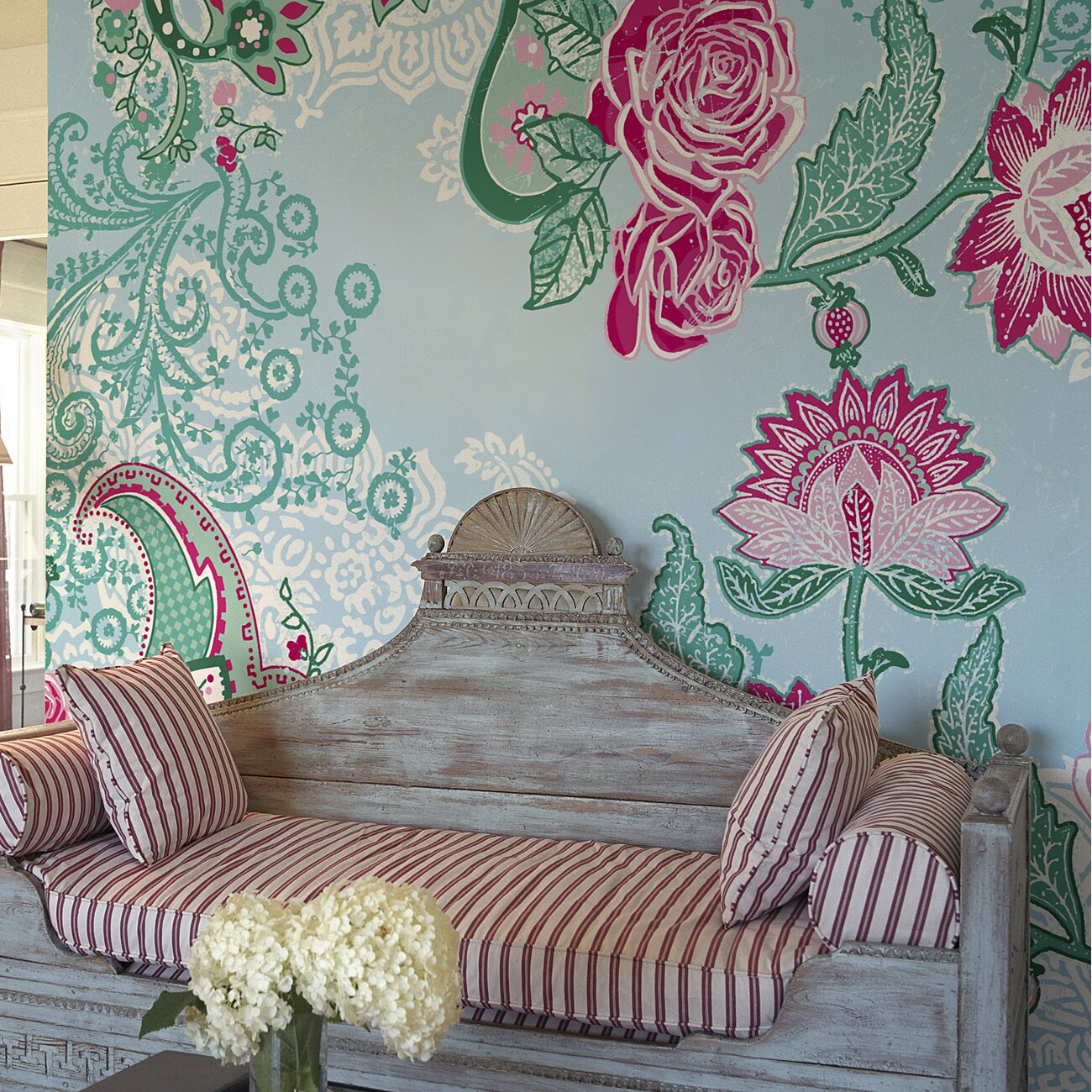 Brewster home fashions komar paisley rose wall mural for Brewster wall mural