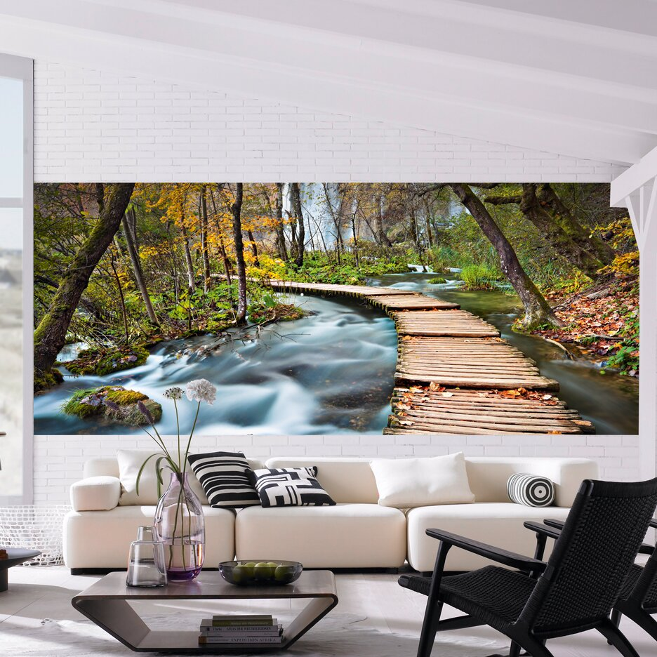 Brewster home fashions ideal decor path into the forest for Brewster home fashions wall mural