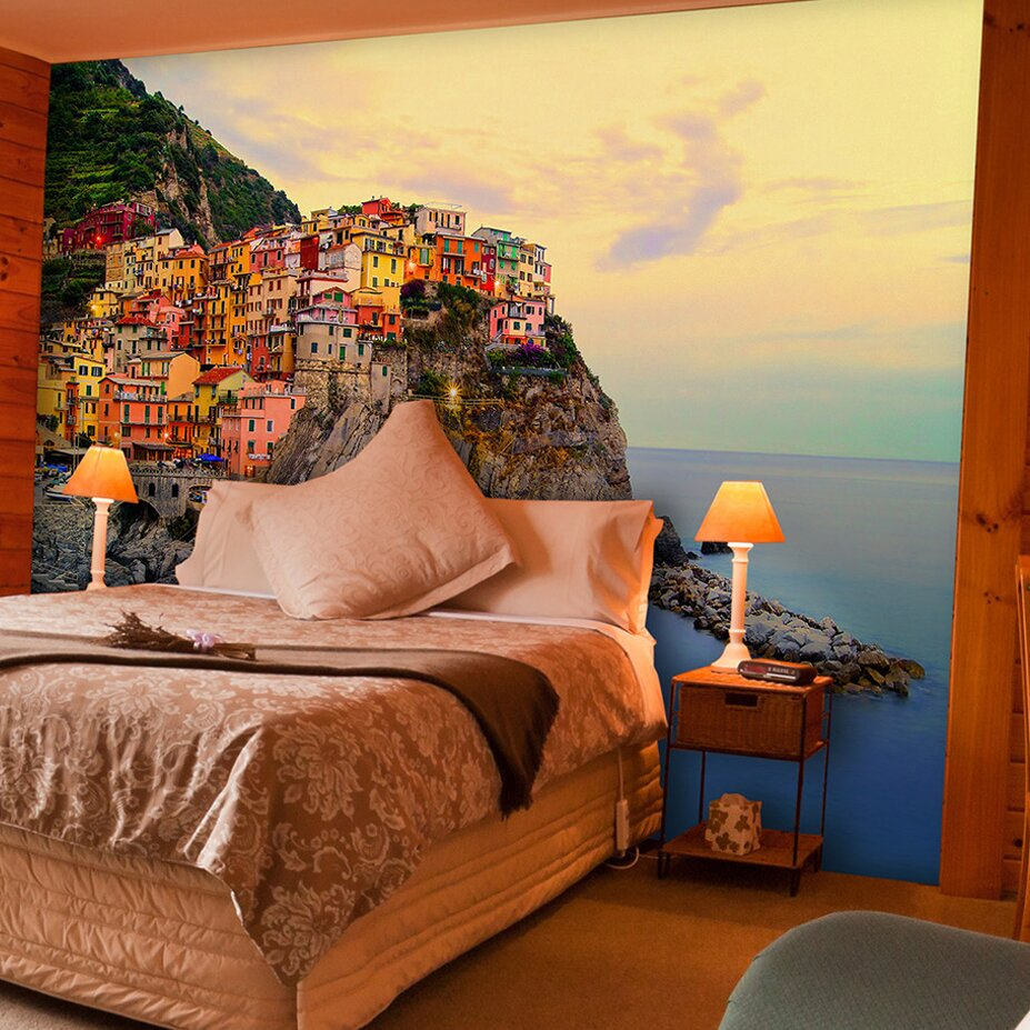 Brewster home fashions ideal d cor cinque terre coast wall for Brewster birch wall mural