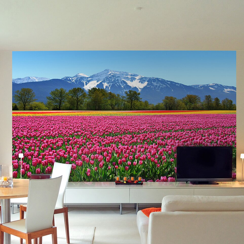 Brewster home fashions ideal d cor tulips wall mural for Brewster birch wall mural