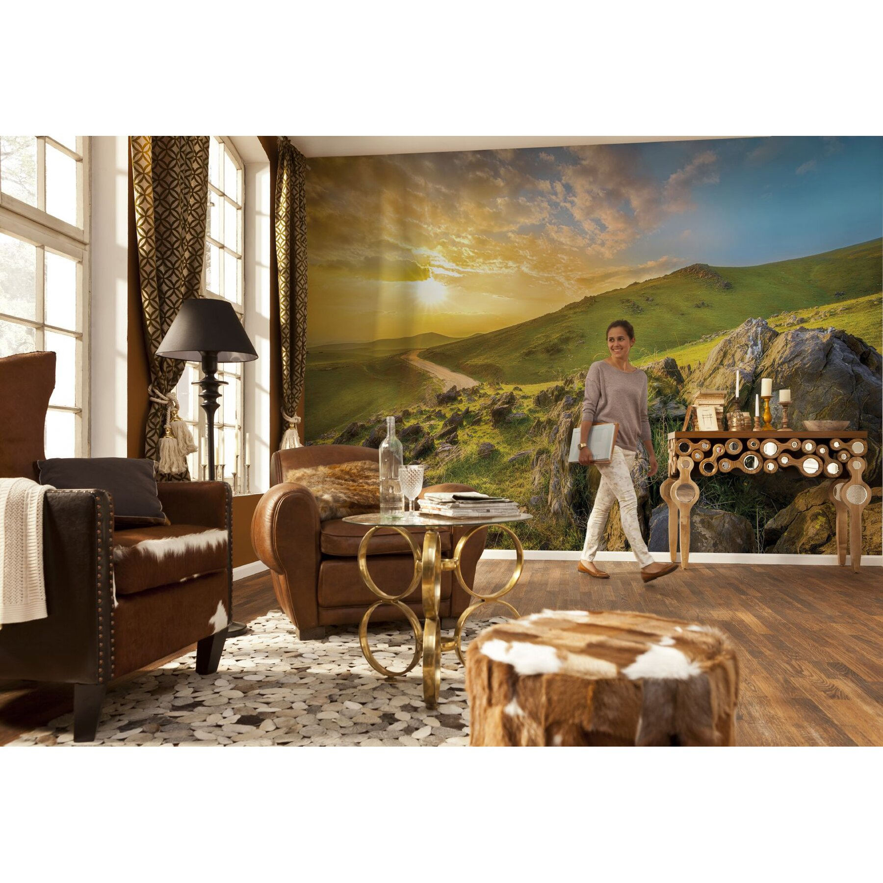 Brewster home fashions komar mountain morning wall mural for Brewster birch wall mural