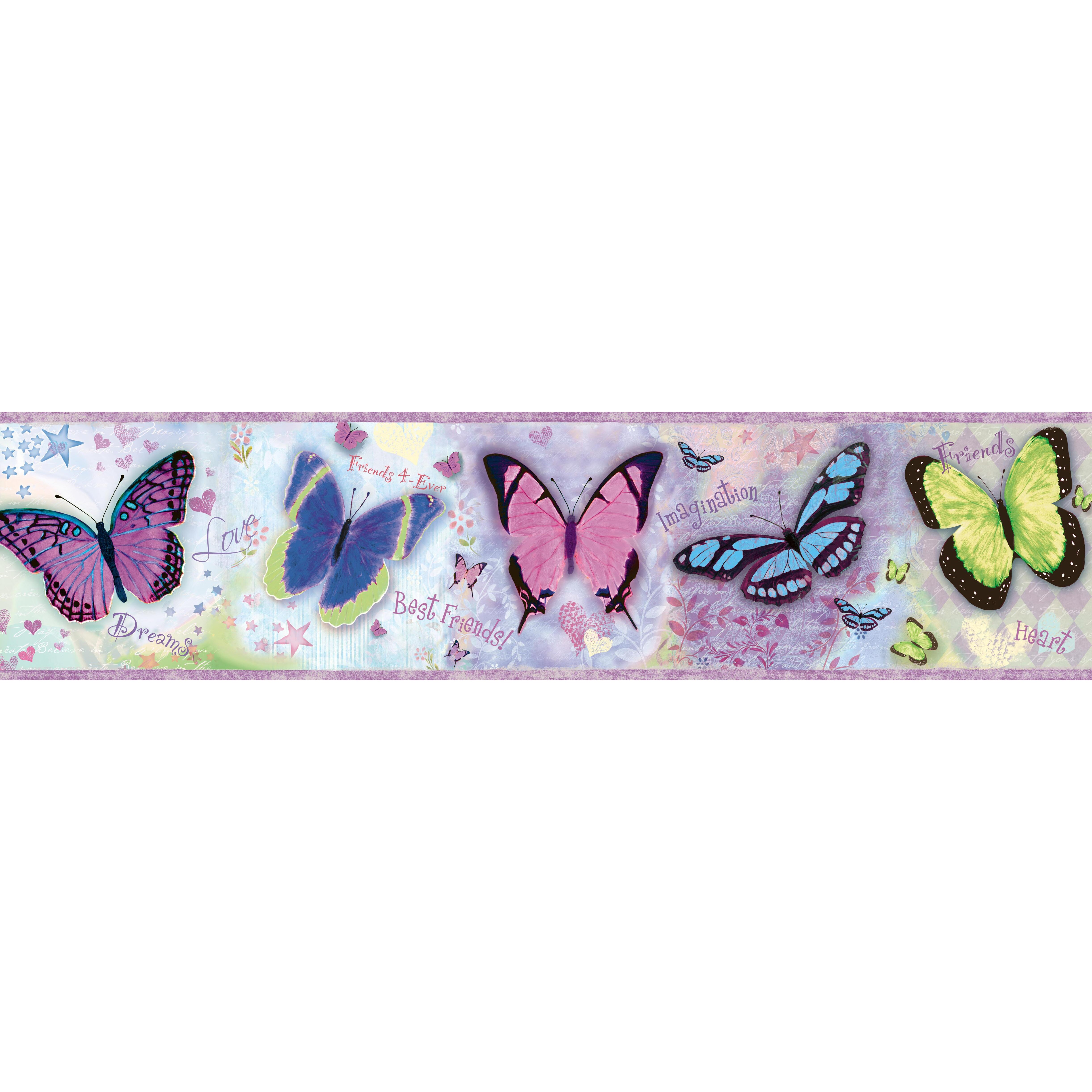 "Brewster Home Fashions Borders By Chesapeake Kingston BFF Toss 15' X 8"" Butterflies Border"
