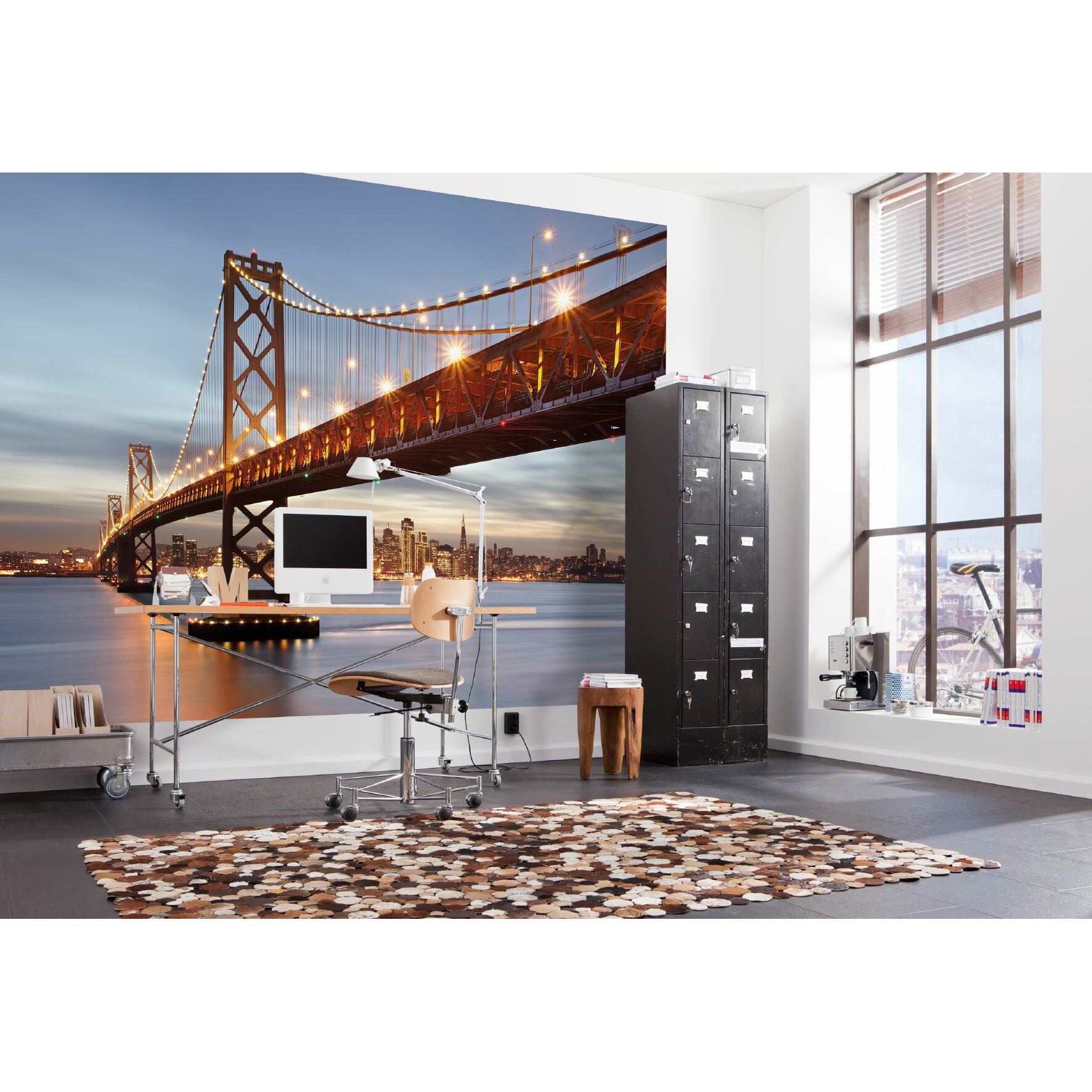 Brewster home fashions komar bay bridge wall mural for Brewster birch wall mural
