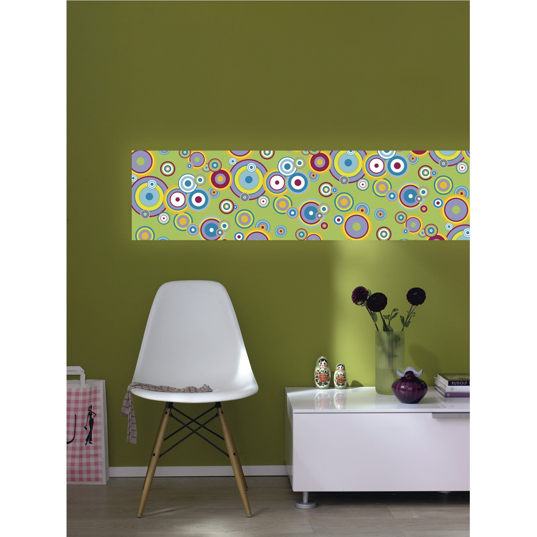 Brewster home fashions euro stripe flying bubbles wall for Brewster wall mural