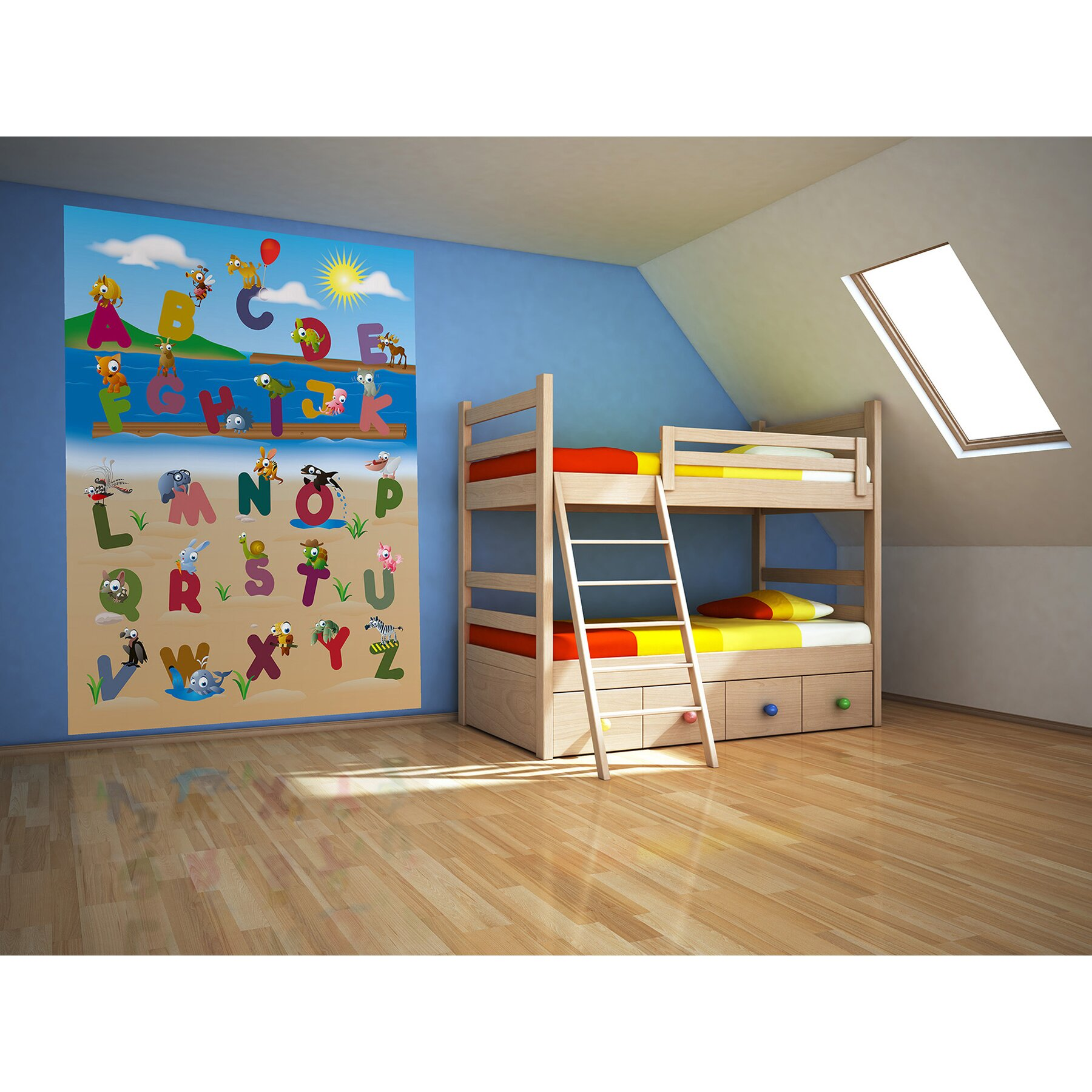 Brewster home fashions ideal d cor animal alphabet wall for Brewster wall mural