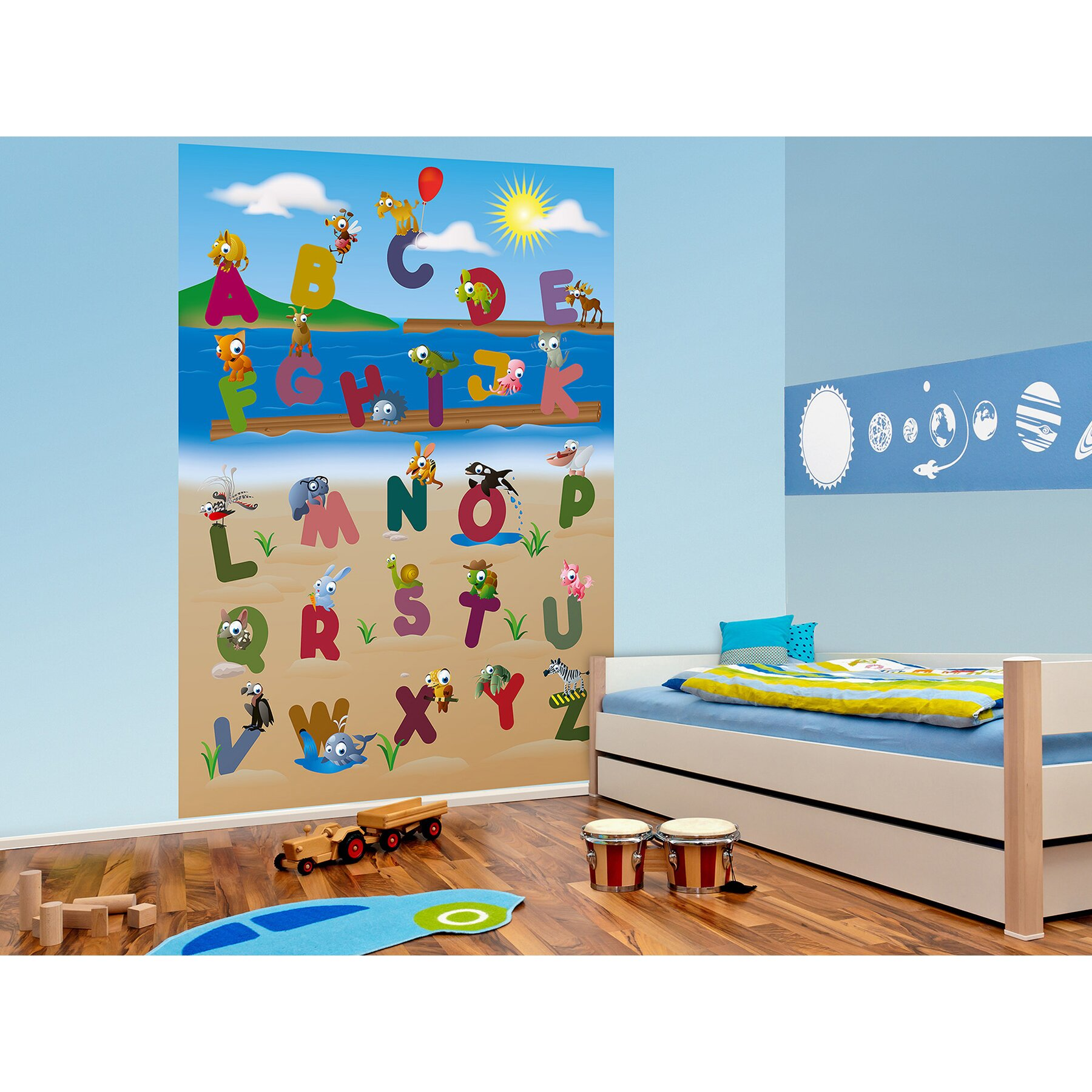 Brewster home fashions ideal d cor animal alphabet wall for Alphabet wall mural