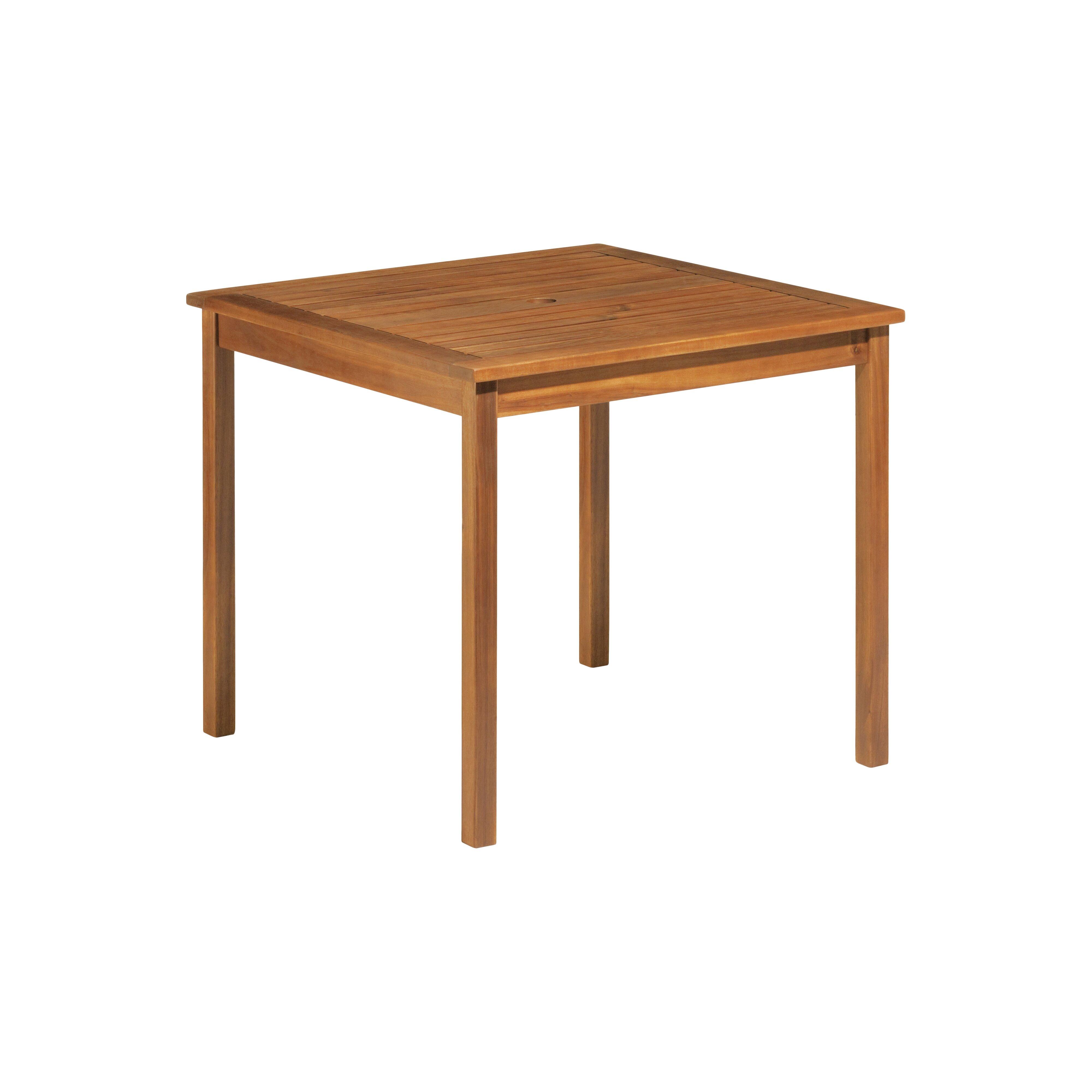 Oxford garden capri acacia patio dining table reviews for Table queens acacia