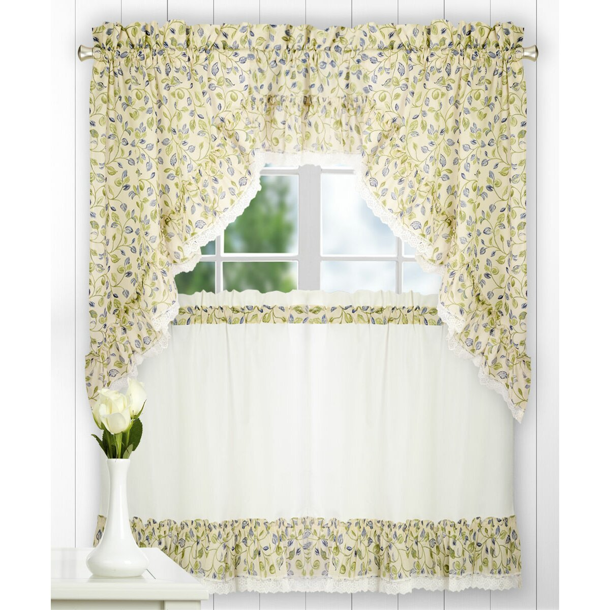 "Ellis Curtain Clarice Ruffled Swag 58"" Curtain Valance"