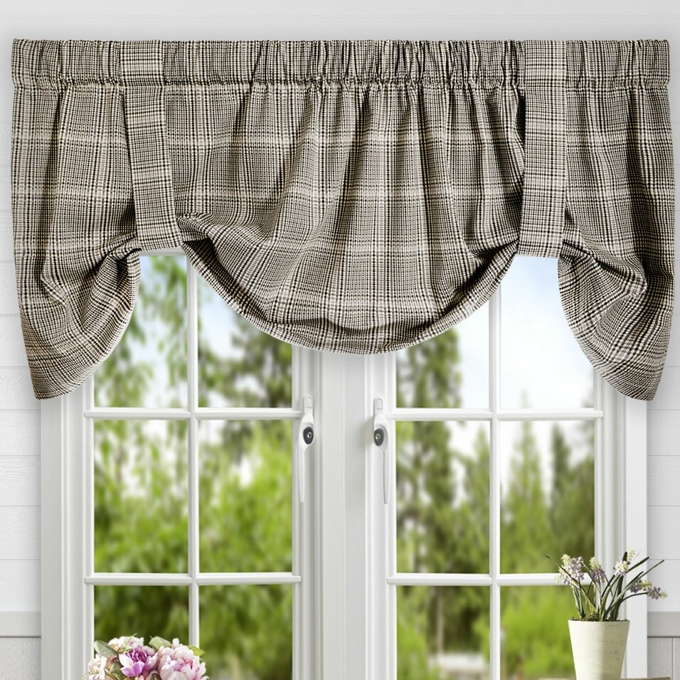 Ellis Curtain Morrison Plaid Cotton Tie Up Curtain Valance