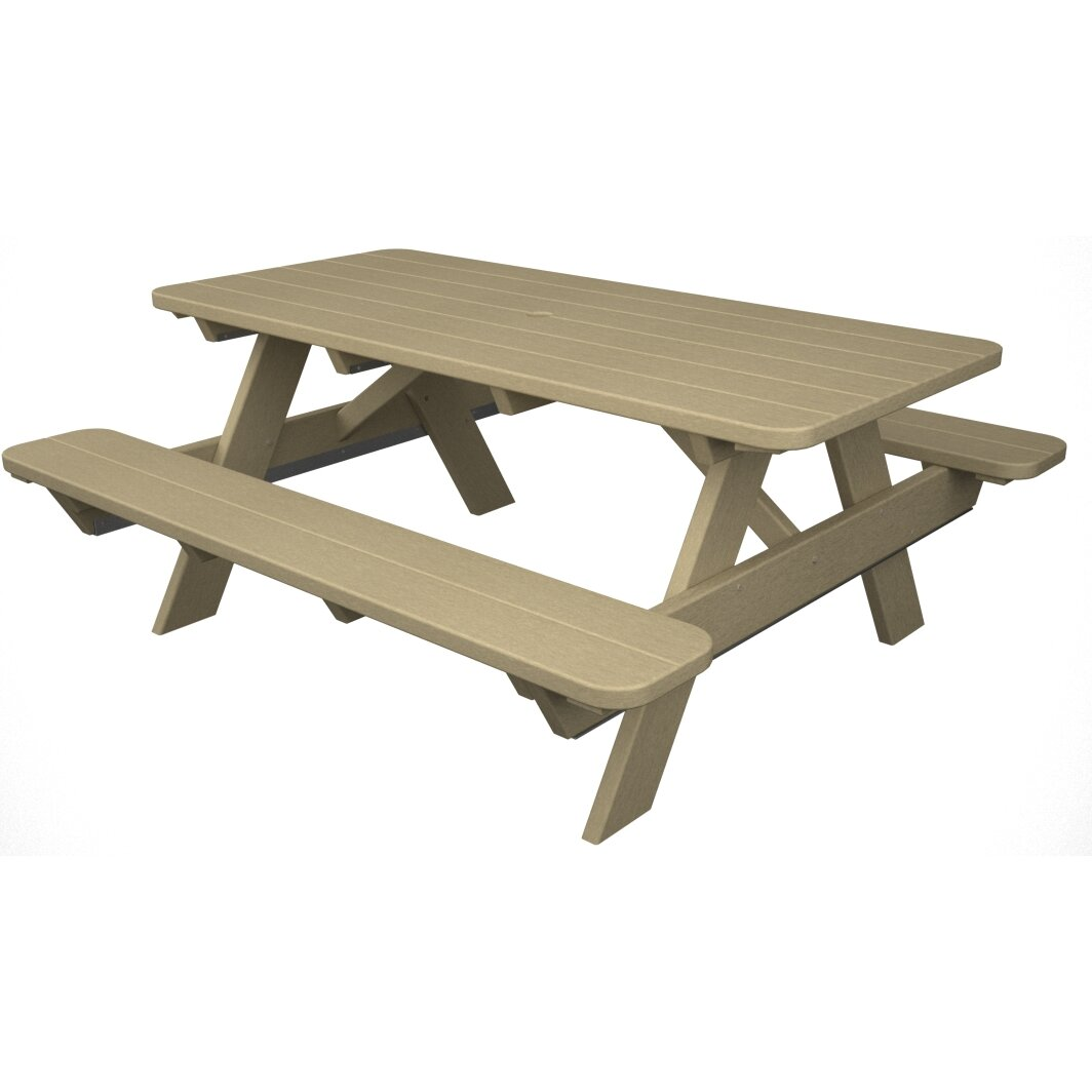 Polywood park picnic table reviews wayfair for 10 person picnic table