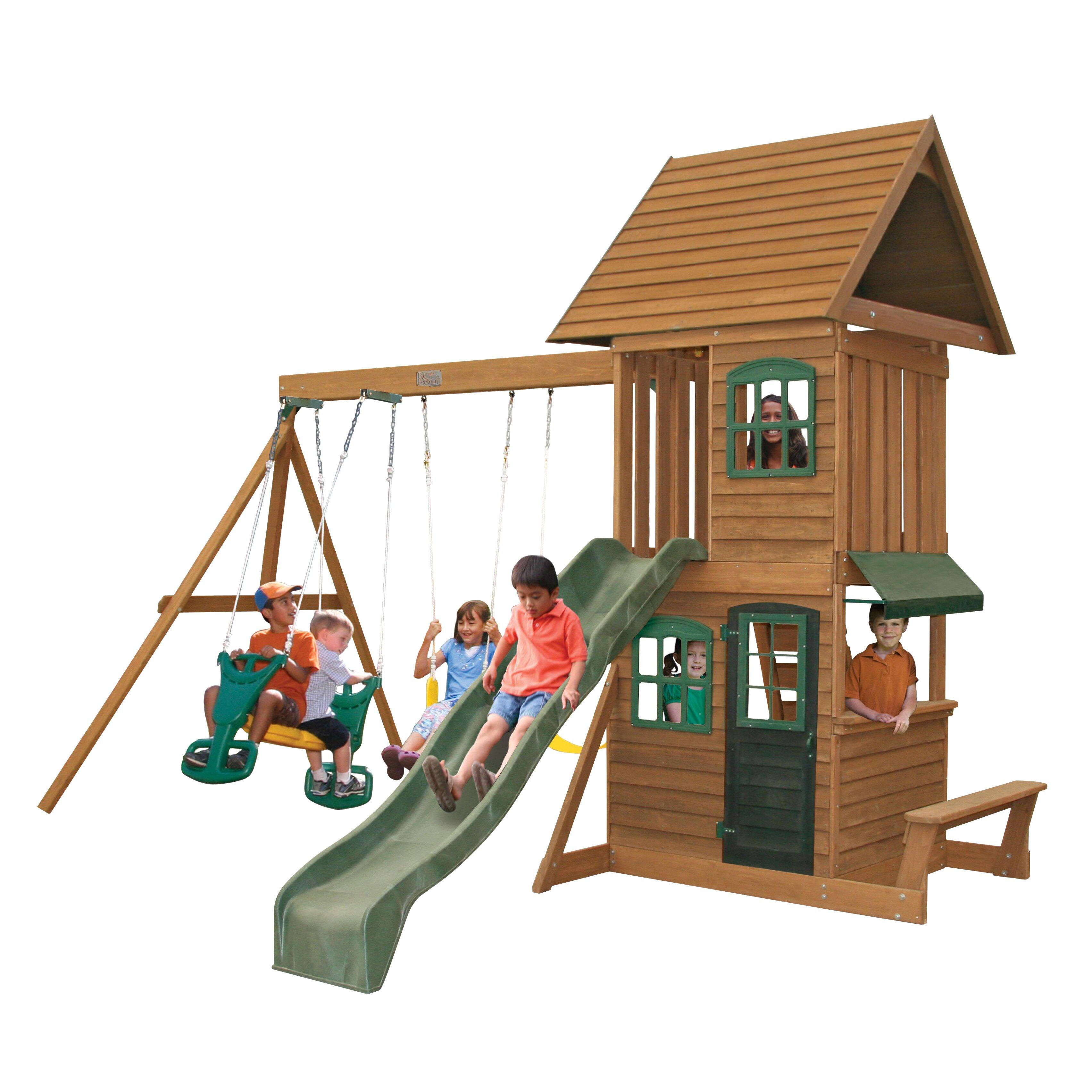 big backyard windale wooden swing set reviews wayfair. Black Bedroom Furniture Sets. Home Design Ideas