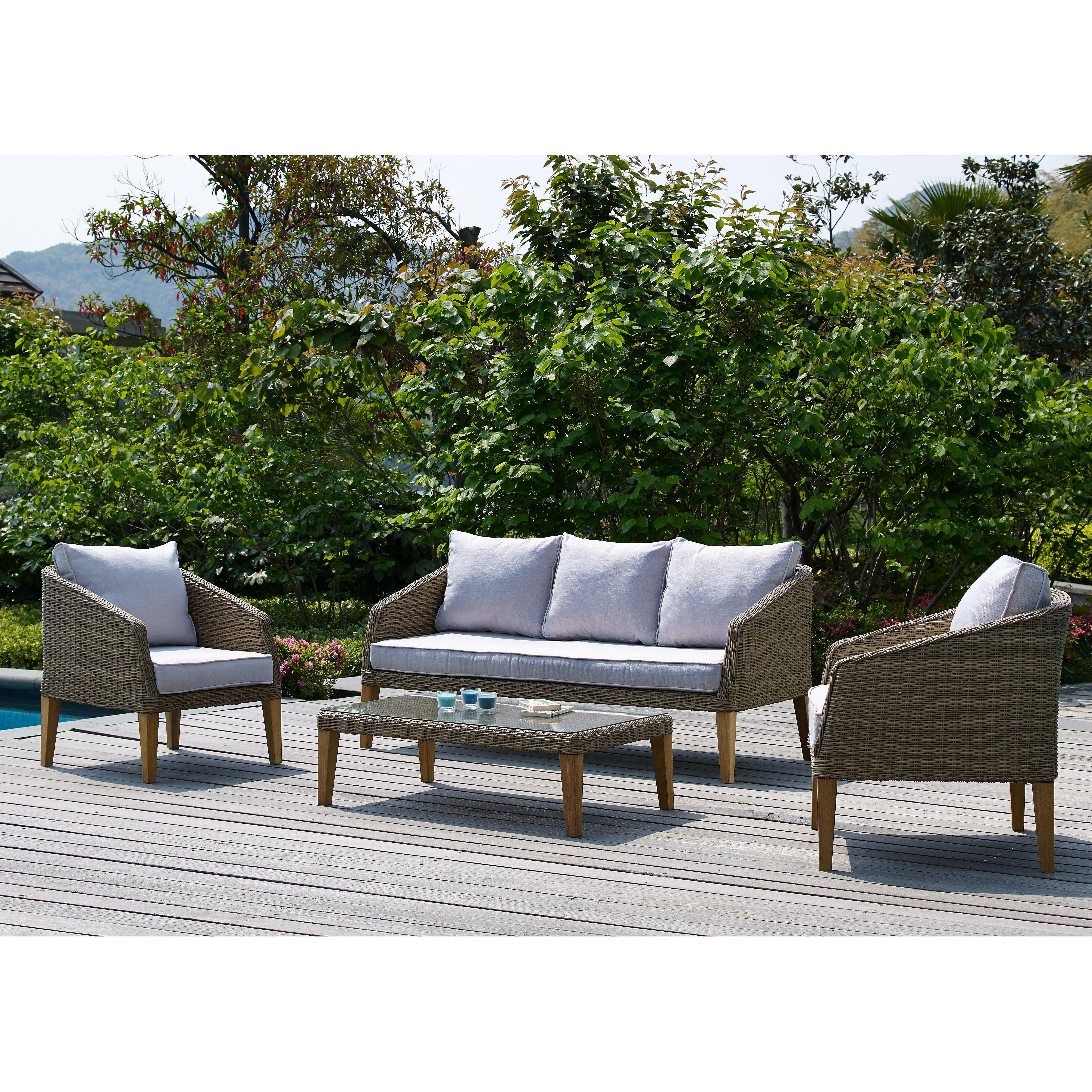 Brayden Studio Hypes 4 Piece Deep Seating Group With Natural Cushion Reviews Wayfair