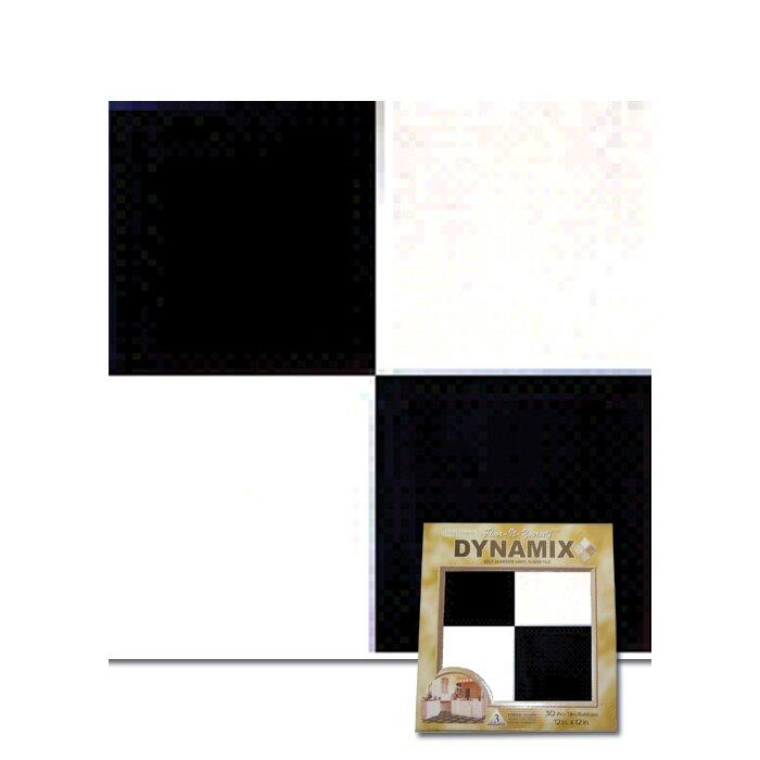 """Dynamix Vinyl Tile 1009: Home Dynamix 12"""" X 12"""" Luxury Vinyl Tile In Black / White"""
