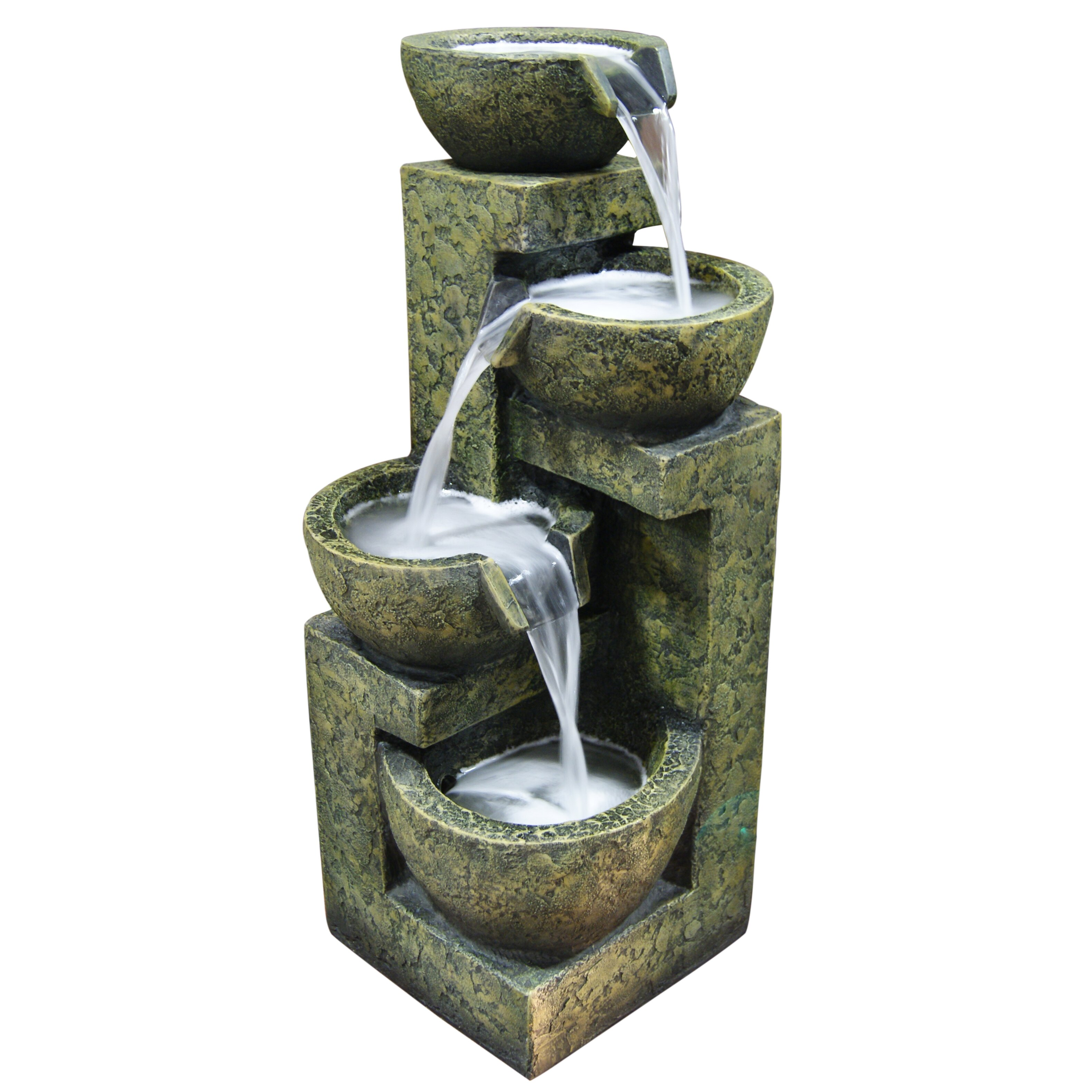 Alpine Fiberglass And Stone Three Tier Water Fountain