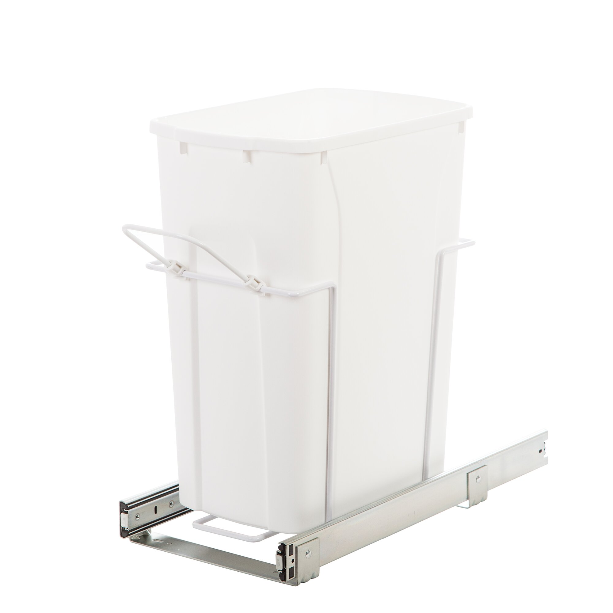 Knape amp vogt 8 75 gal in cabinet pull out bottom mount trash can wayfair