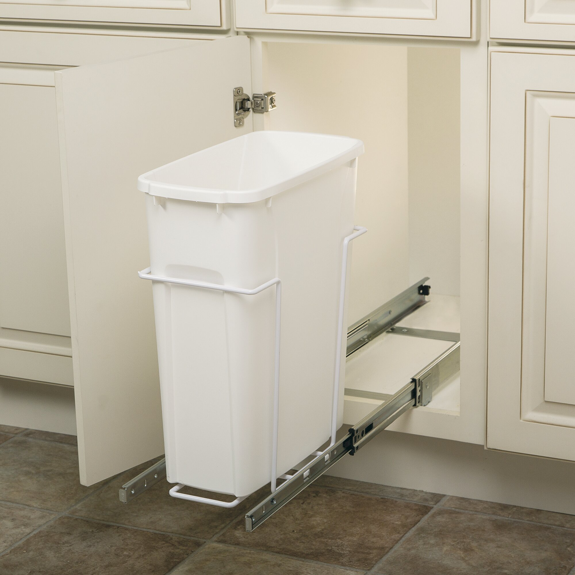 Knape amp vogt 5 gal in cabinet pull out bottom mount trash can amp reviews wayfair