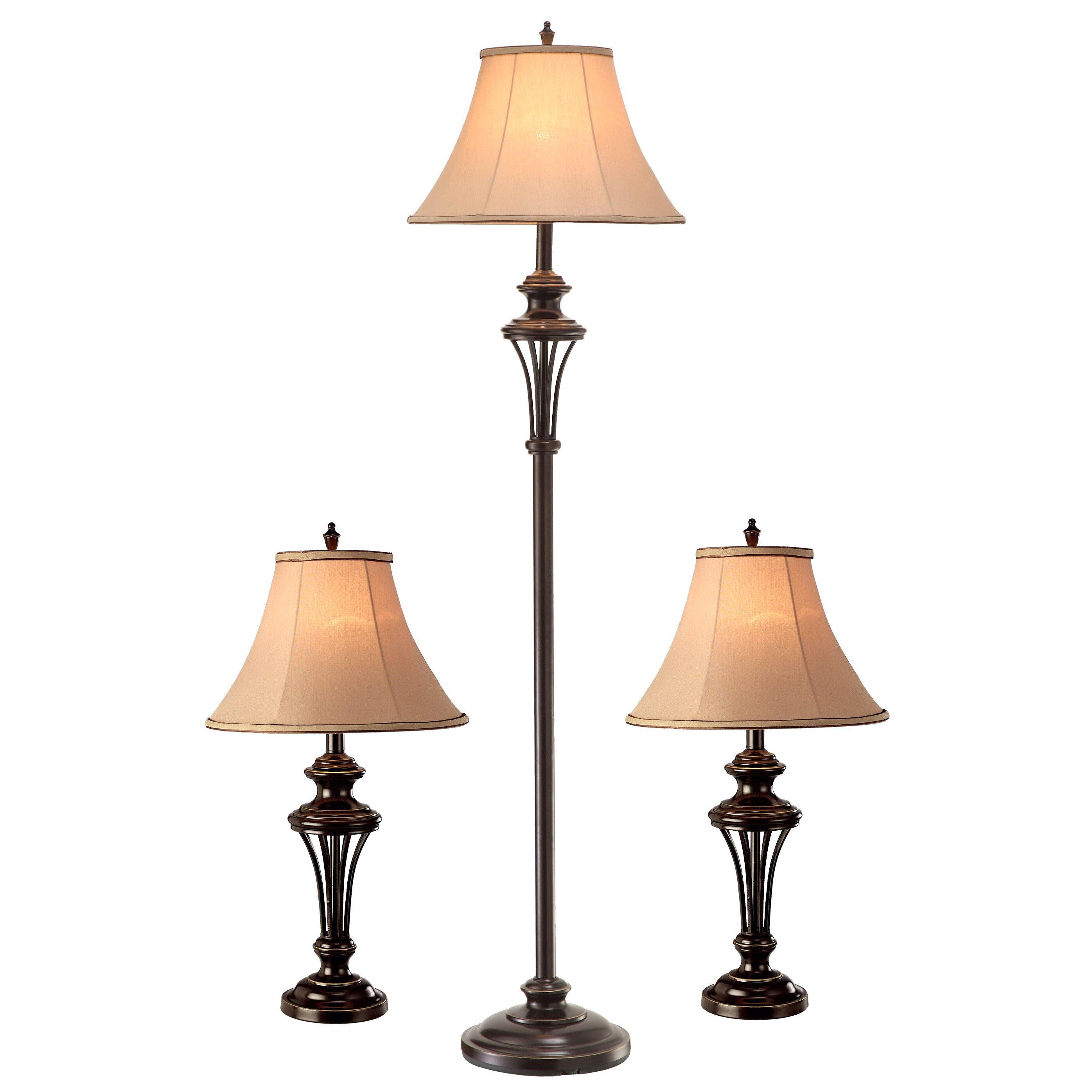 normandelighting 3 piece table and floor lamp set reviews wayfair. Black Bedroom Furniture Sets. Home Design Ideas