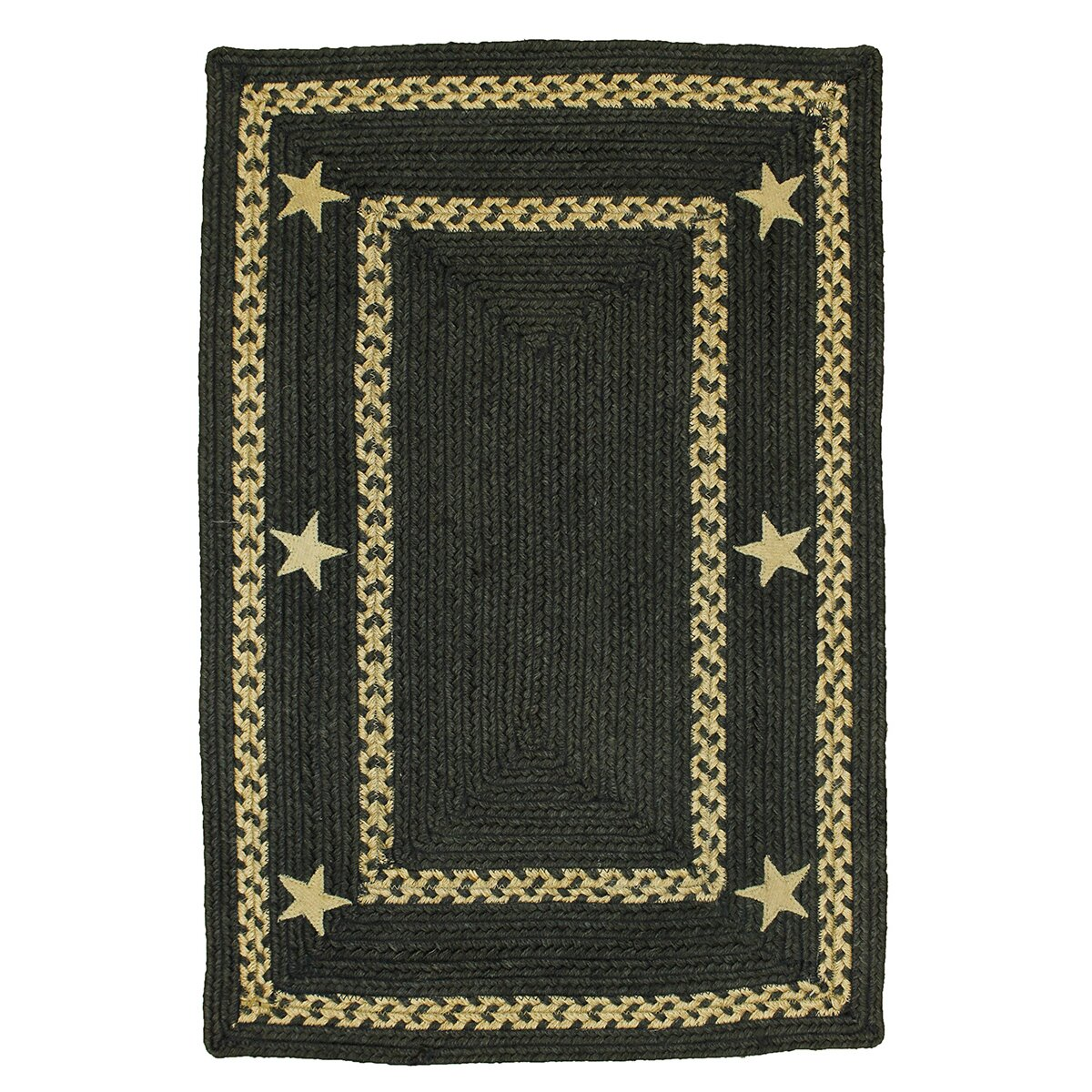 Homespice decor texas star jute braided black area rug reviews wayfair - Rugs and home decor decor ...