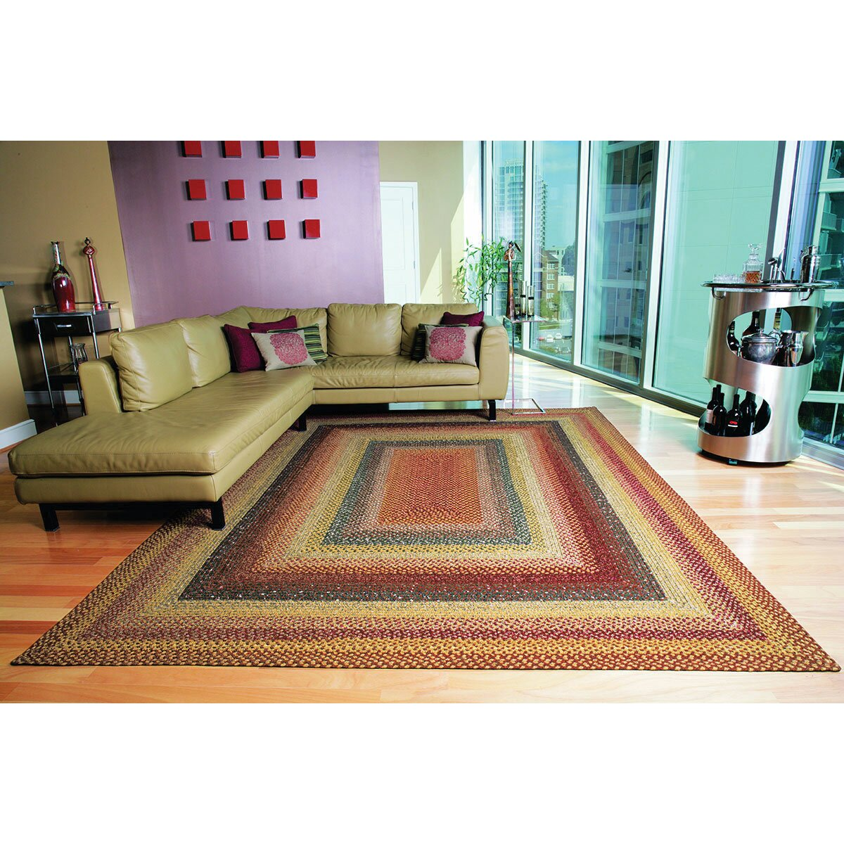 Homespice Decor Cotton Braided Four In Nine Patch Area Rug
