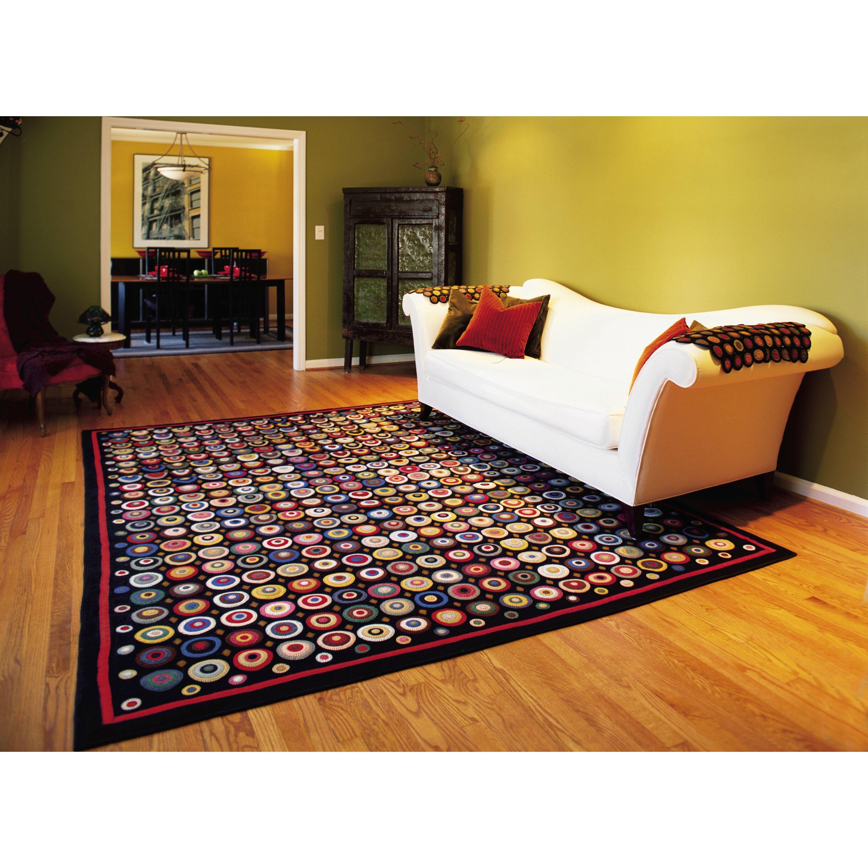 Homespice decor penny coin black area rug reviews wayfair Home decor rugs