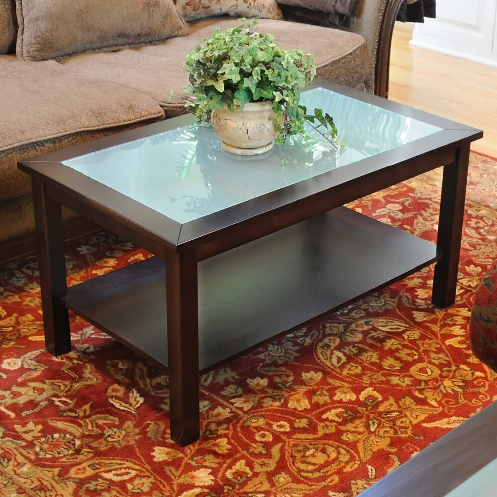 Wildon home r bay shore coffee table with glass top for Wayfair glass top coffee table