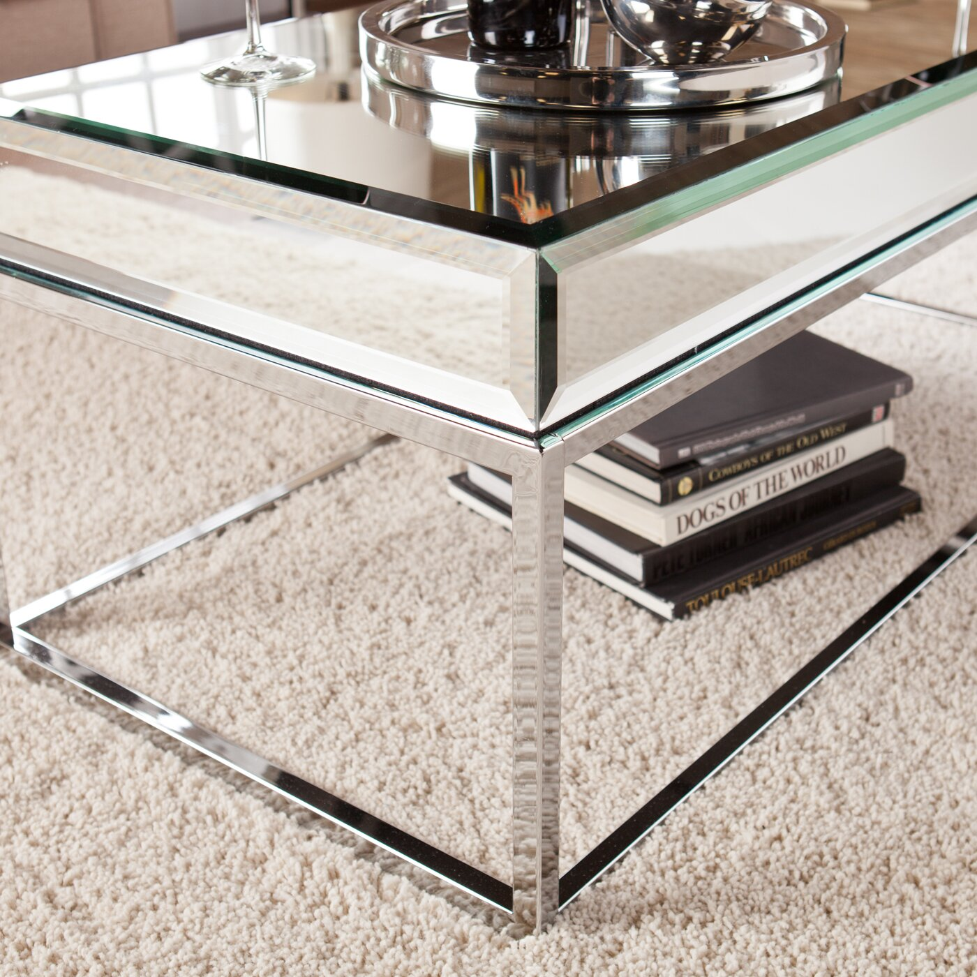 Wildon home r kyla mirrored coffee table reviews wayfair for Wayfair mirrored coffee table