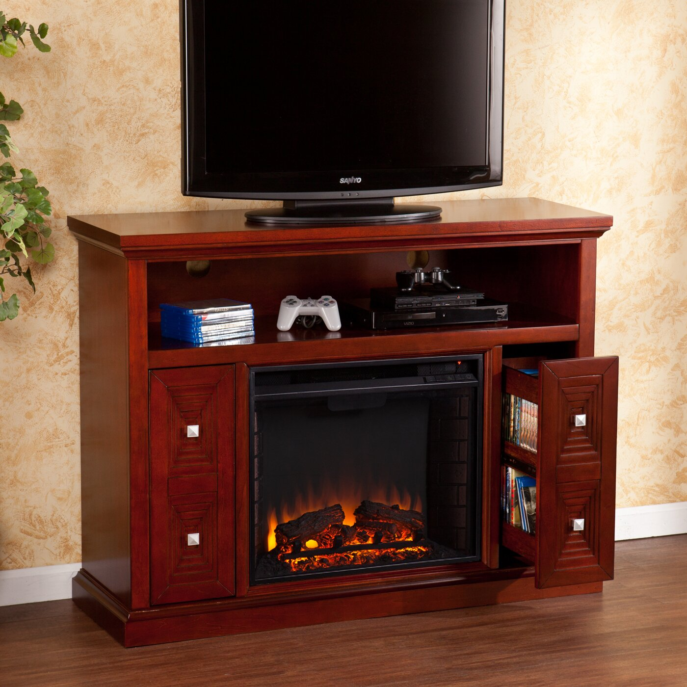 wildon home faulkner tv stand with electric fireplace reviews wayfair. Black Bedroom Furniture Sets. Home Design Ideas