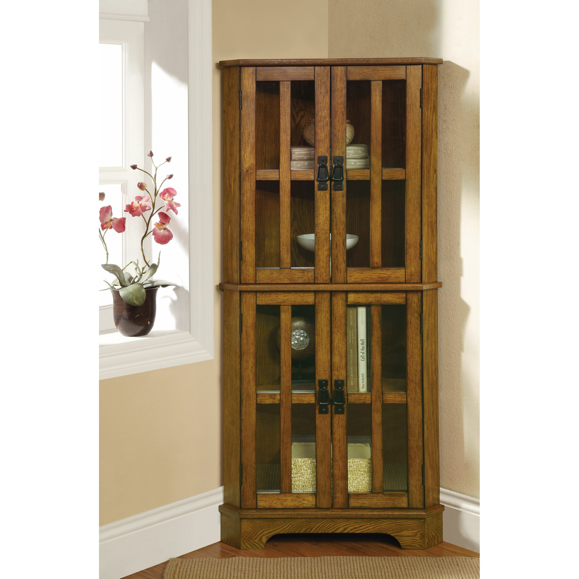 Wildon home corner curio cabinet reviews wayfair for Corner cabinet