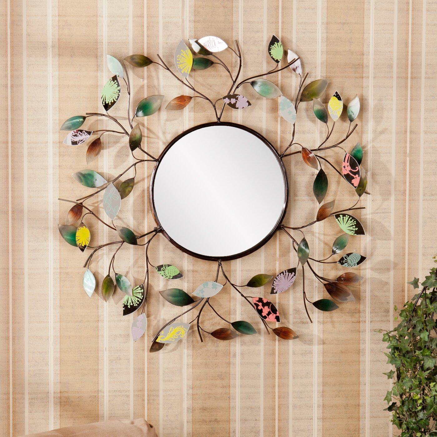Red Barrel Studio Decorative Metallic Leaf Wall Mirror ...