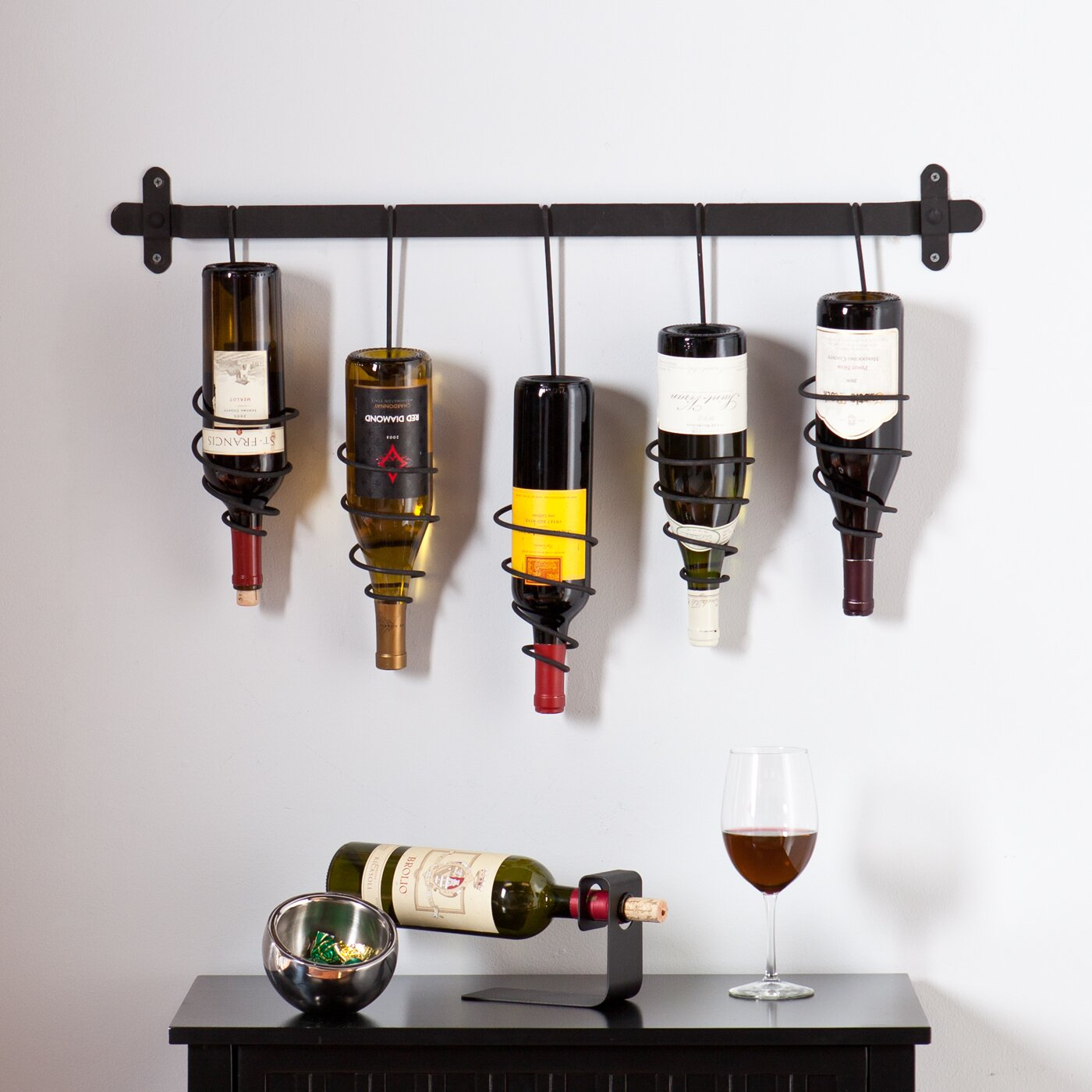 wildon home carsten 5 bottle wall mounted wine rack
