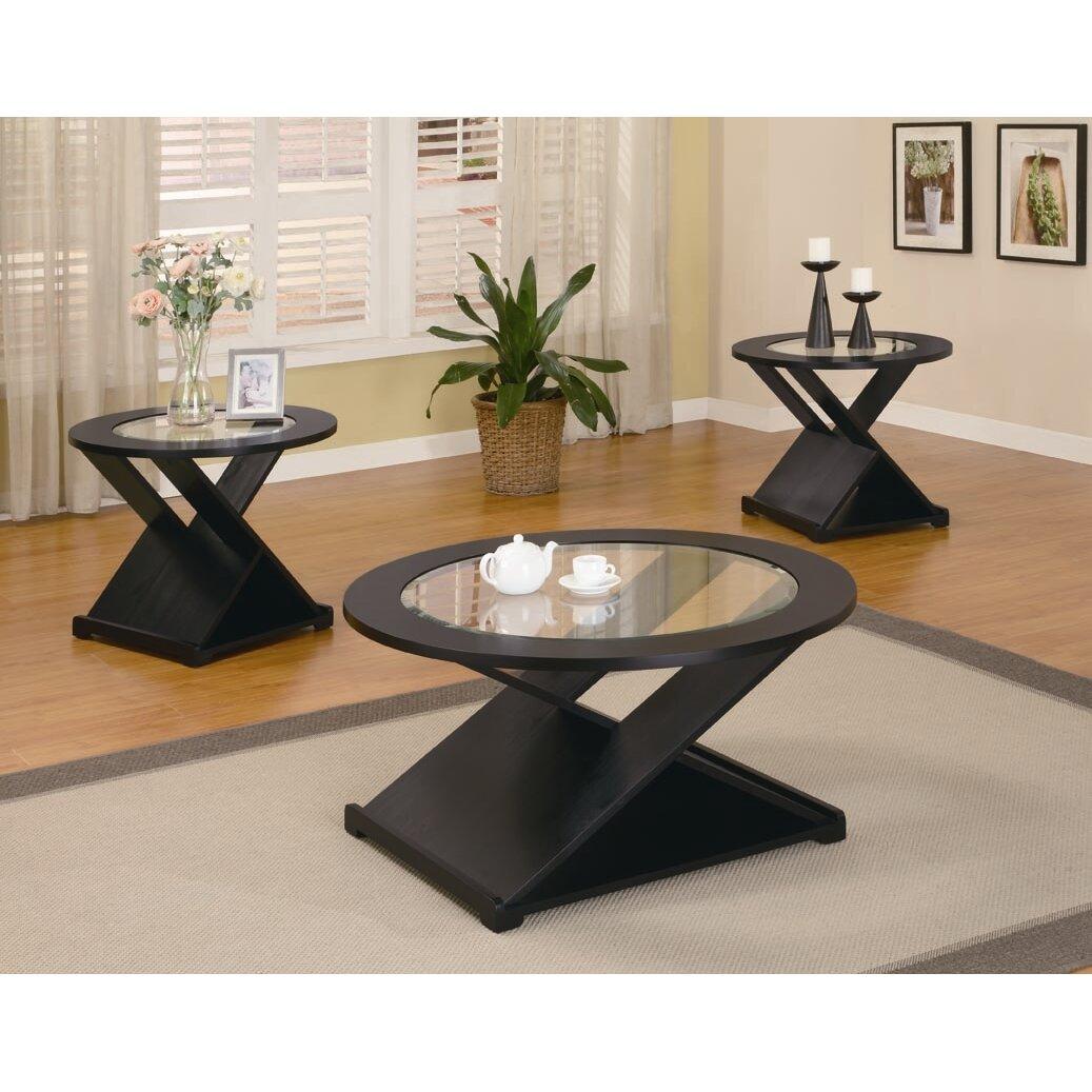 Wildon home amalga 3 piece coffee table set reviews for Coffee tables 3 piece